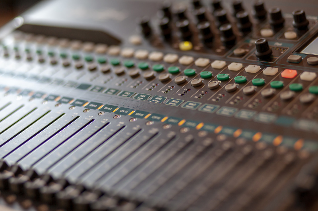 audio mixing console - music show business