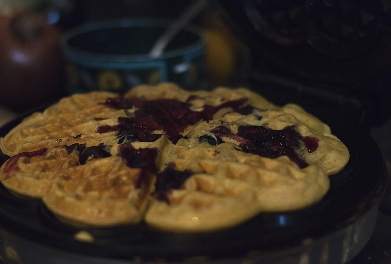 blueberries waffles