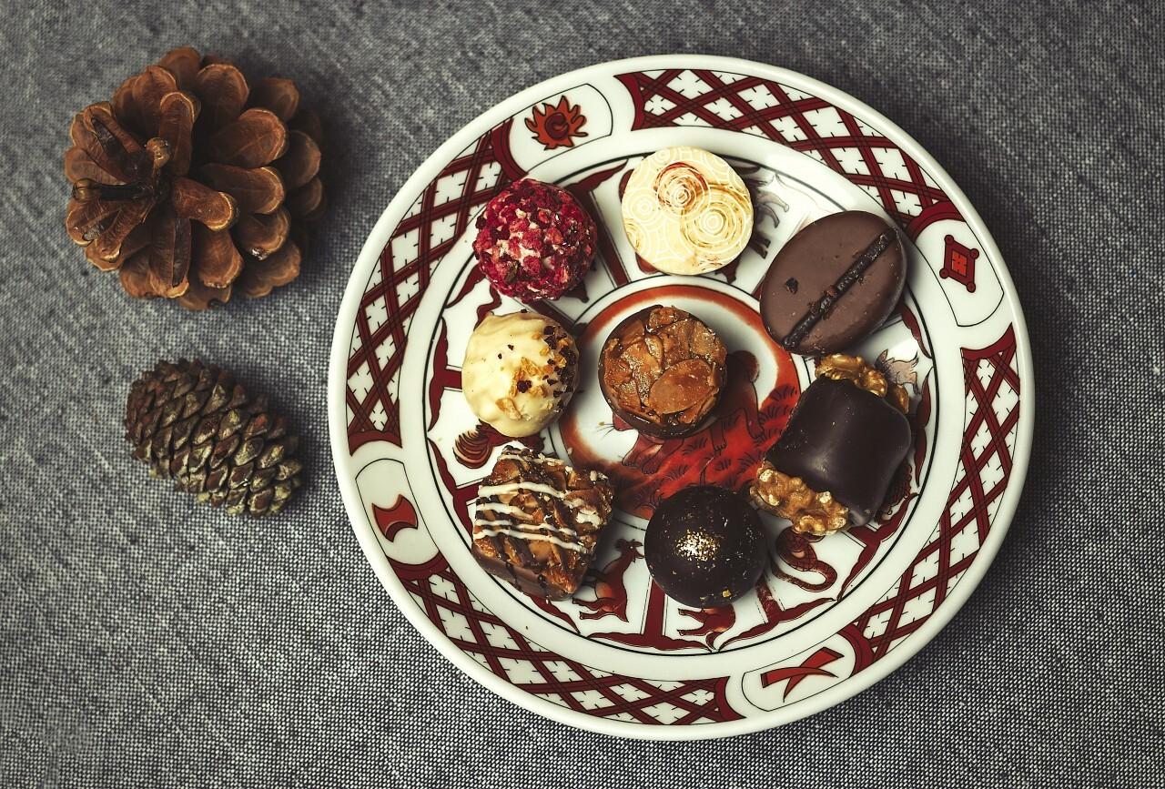 bonbons au chocolat plate