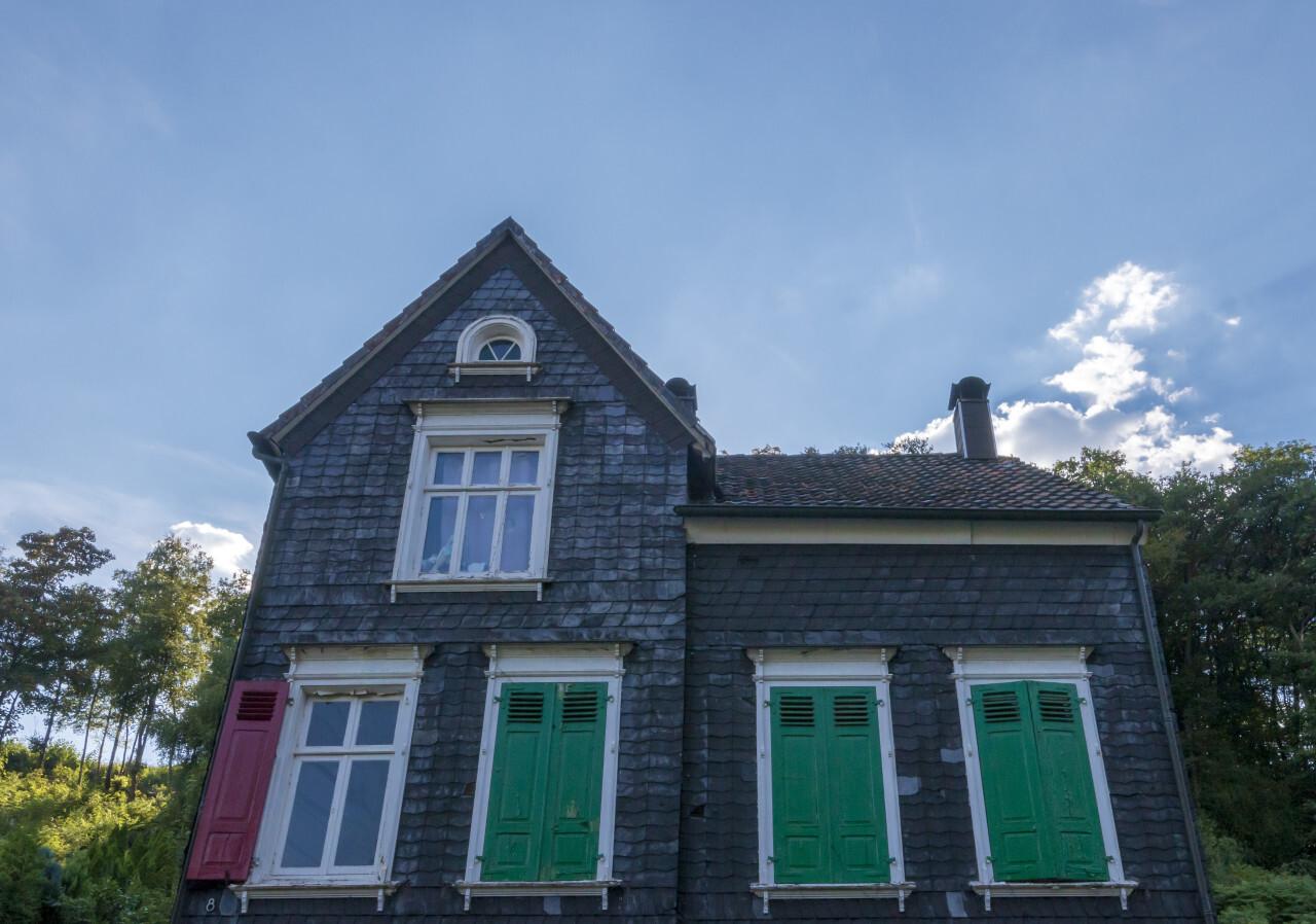old german slate stone house
