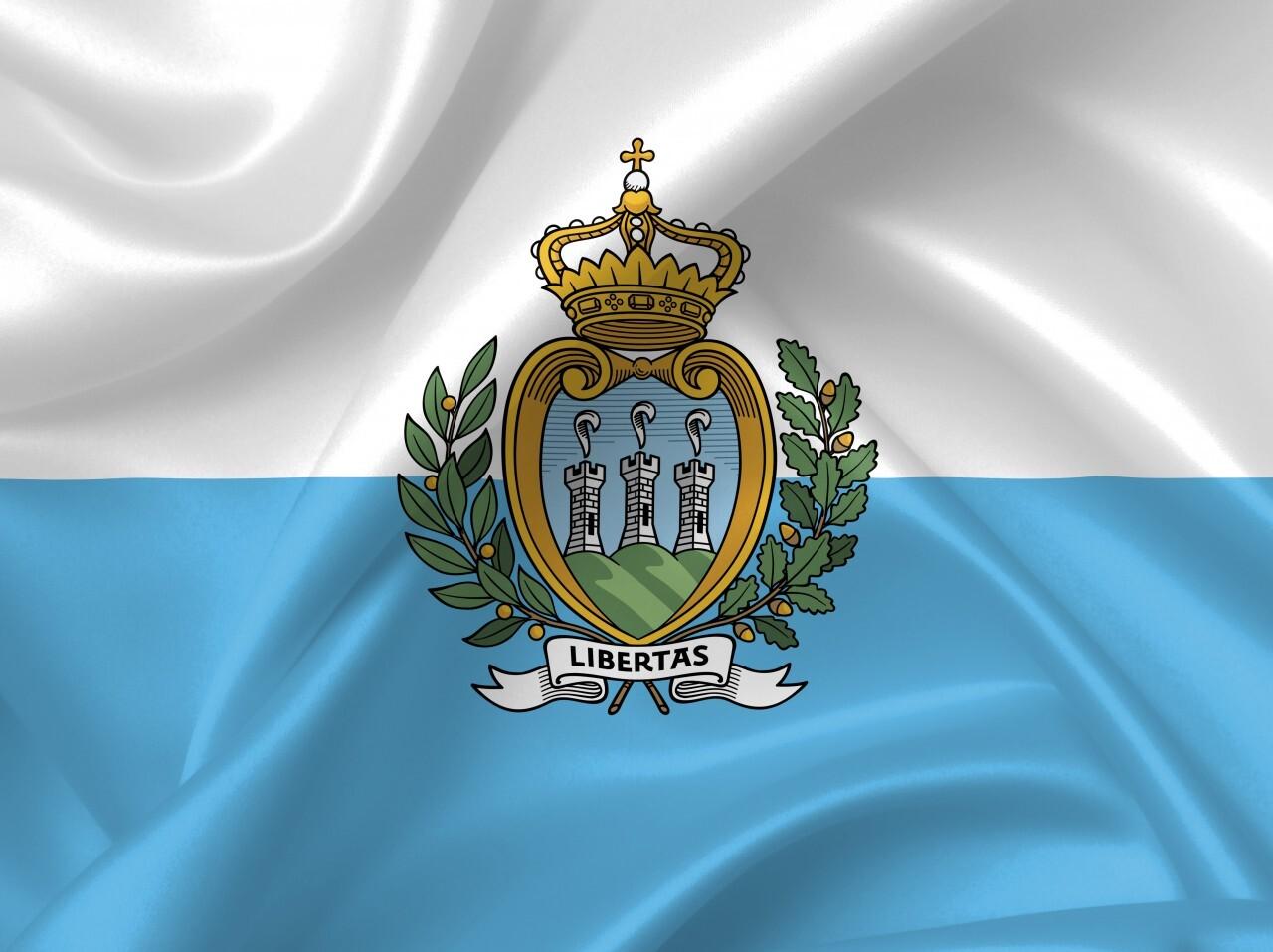 San Marino Flag Contry Symbol Close Up Illustration