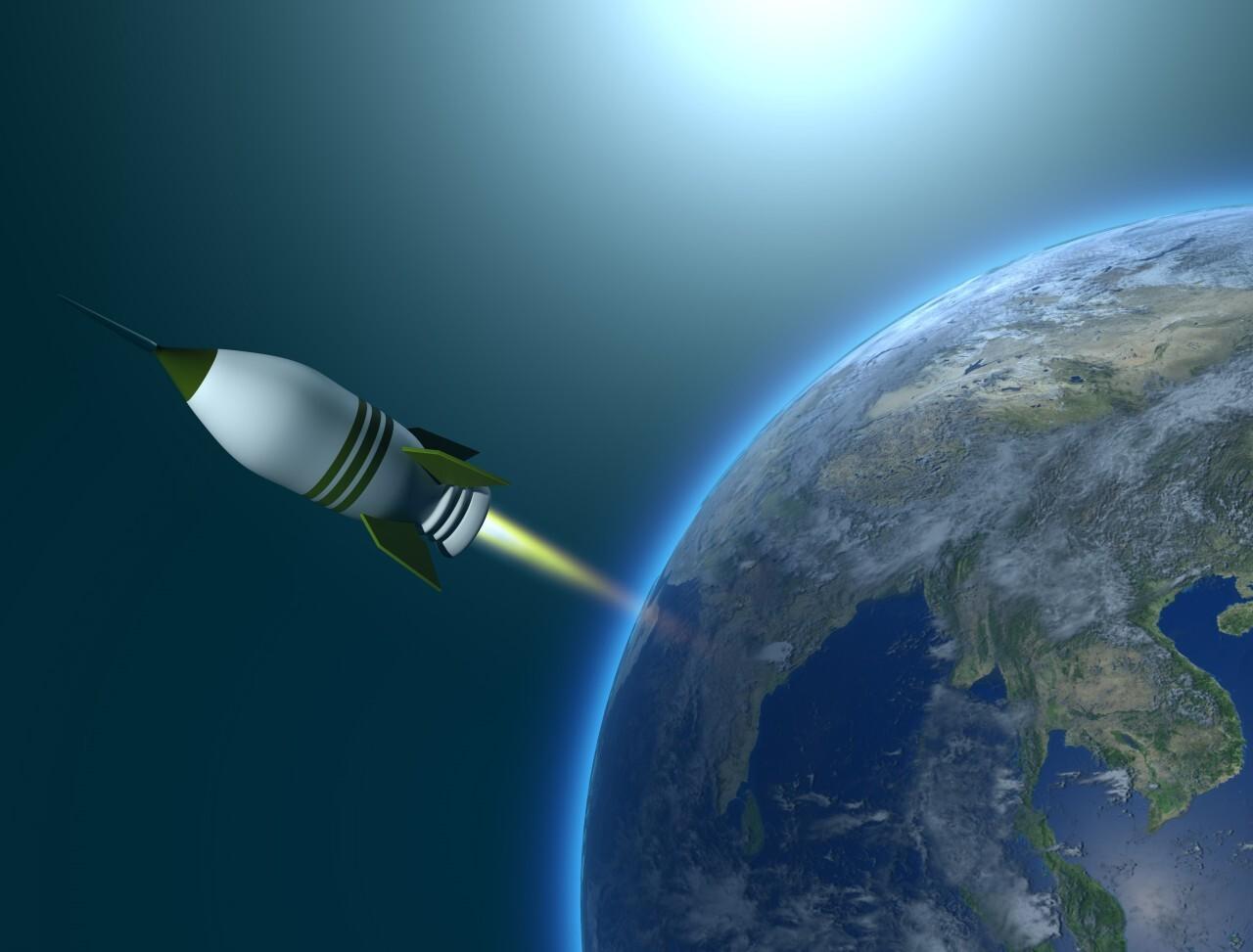 Rocket leaves earth
