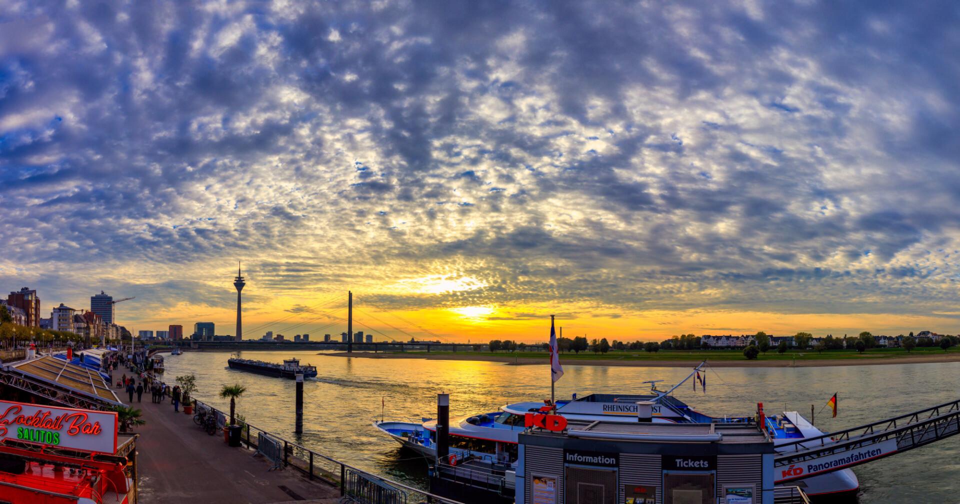 Dusseldorf on the Rhine at sunset