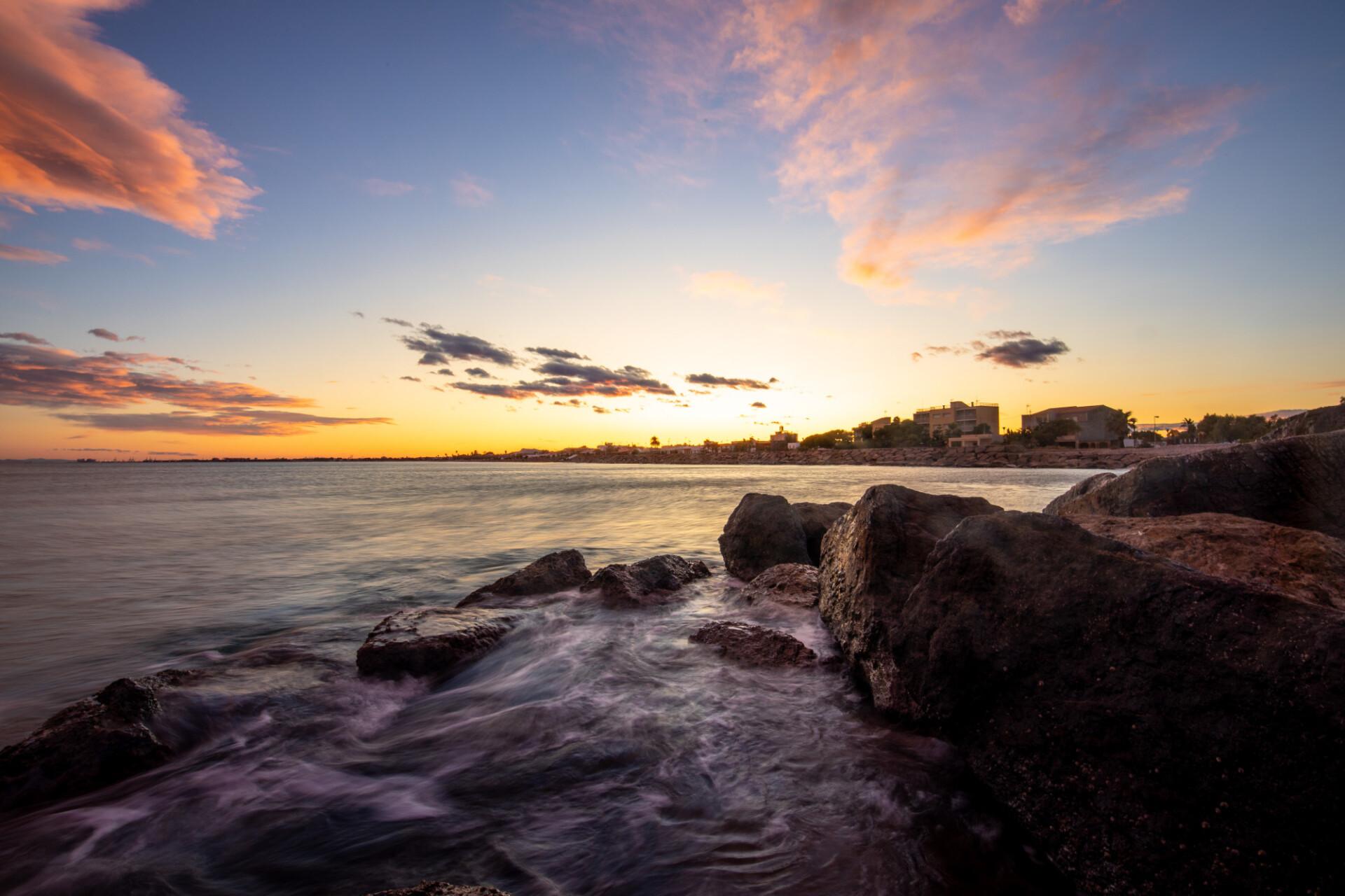 Sunset over Casablanca in Spain seascape