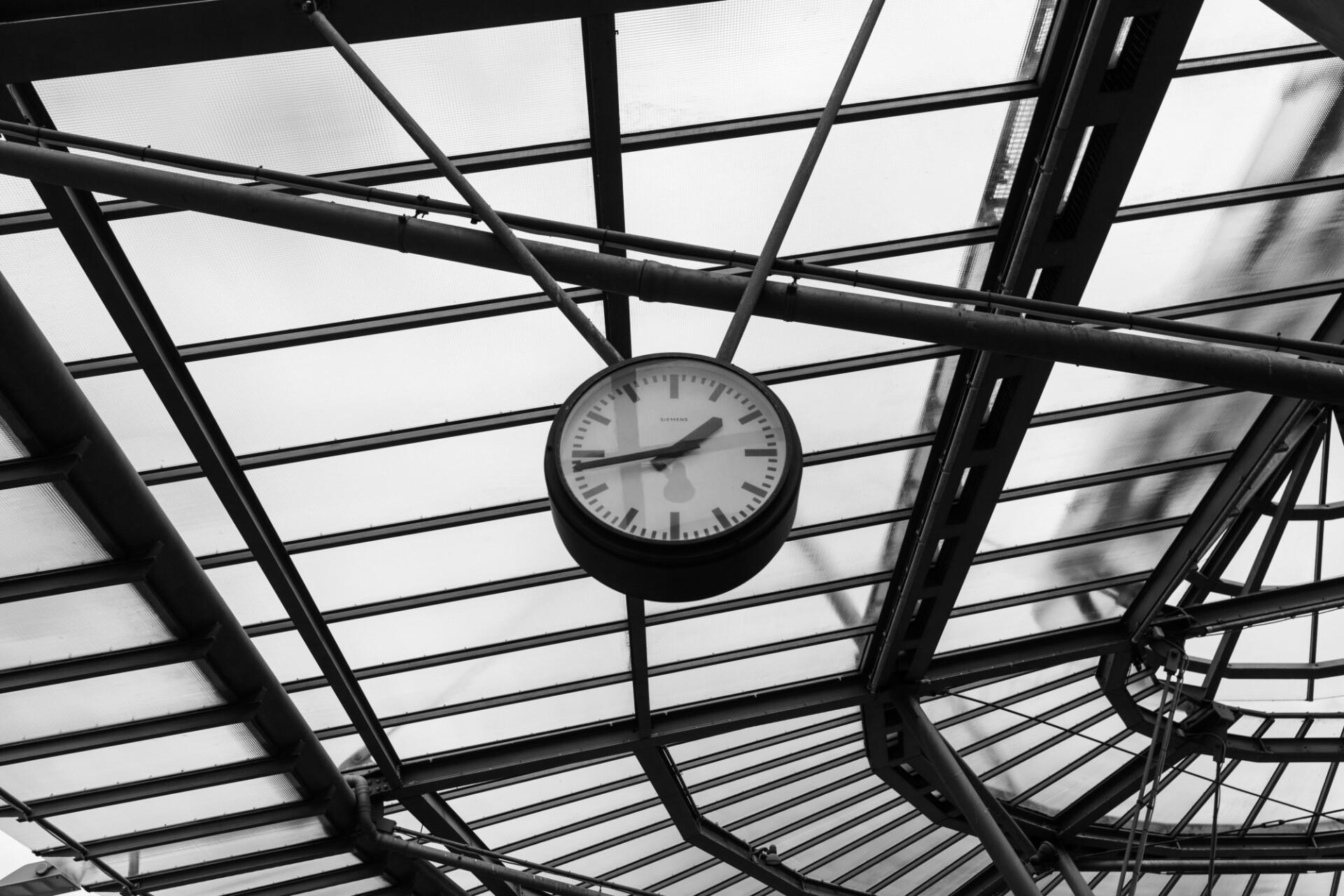 Clock at a train station
