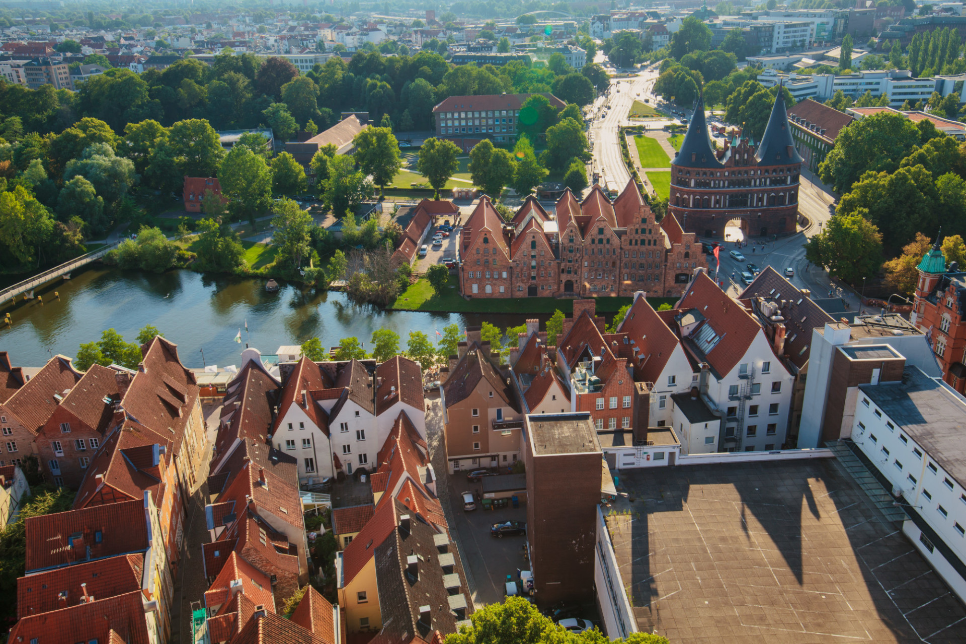 Lübeck from above cityscape with holstentor and trave