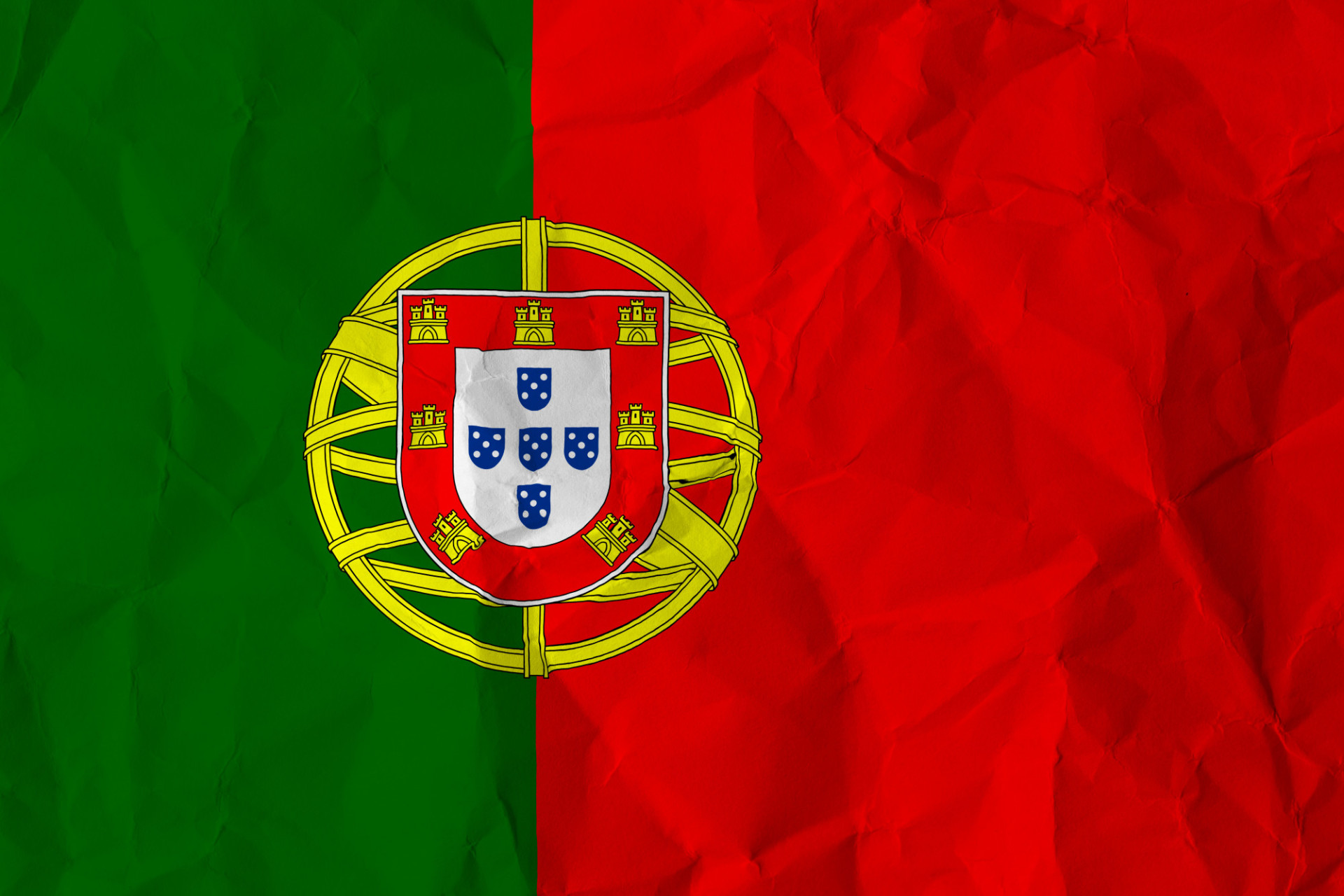 portugal crumpled flag