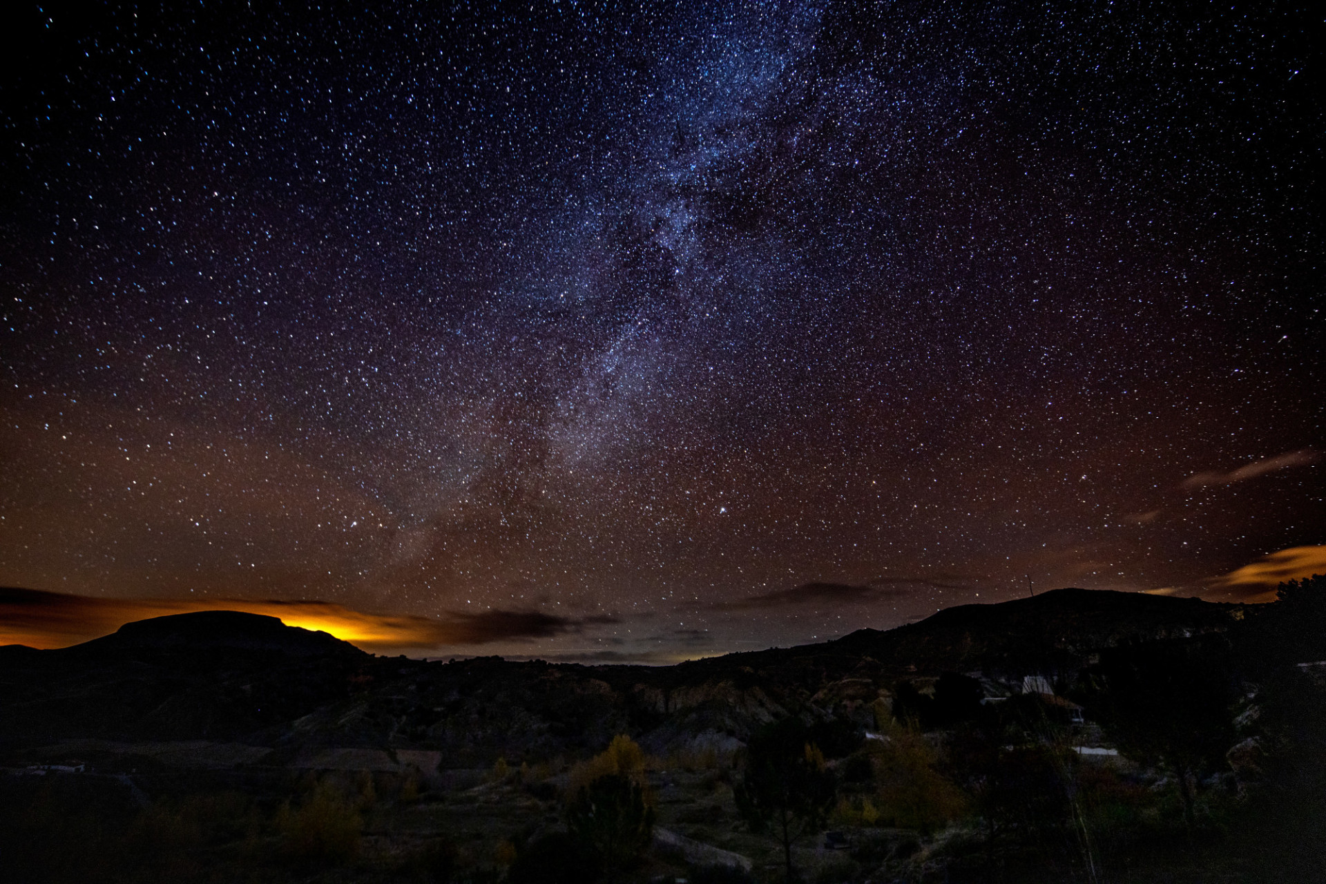 Milky Way at Night over Acequia del Toril landscape