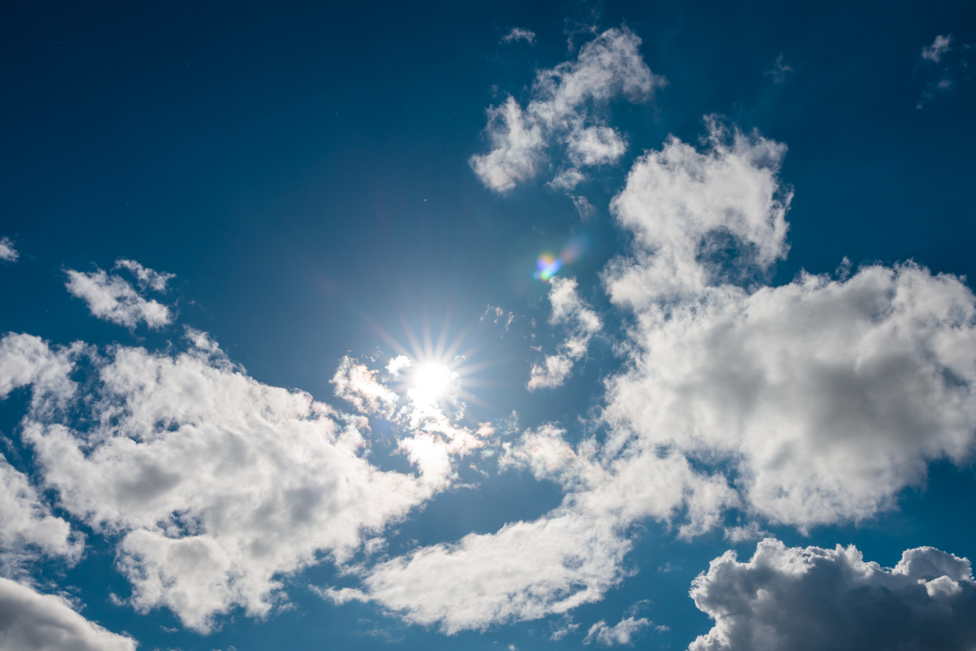Sunny blue sky with clouds for sky replacement