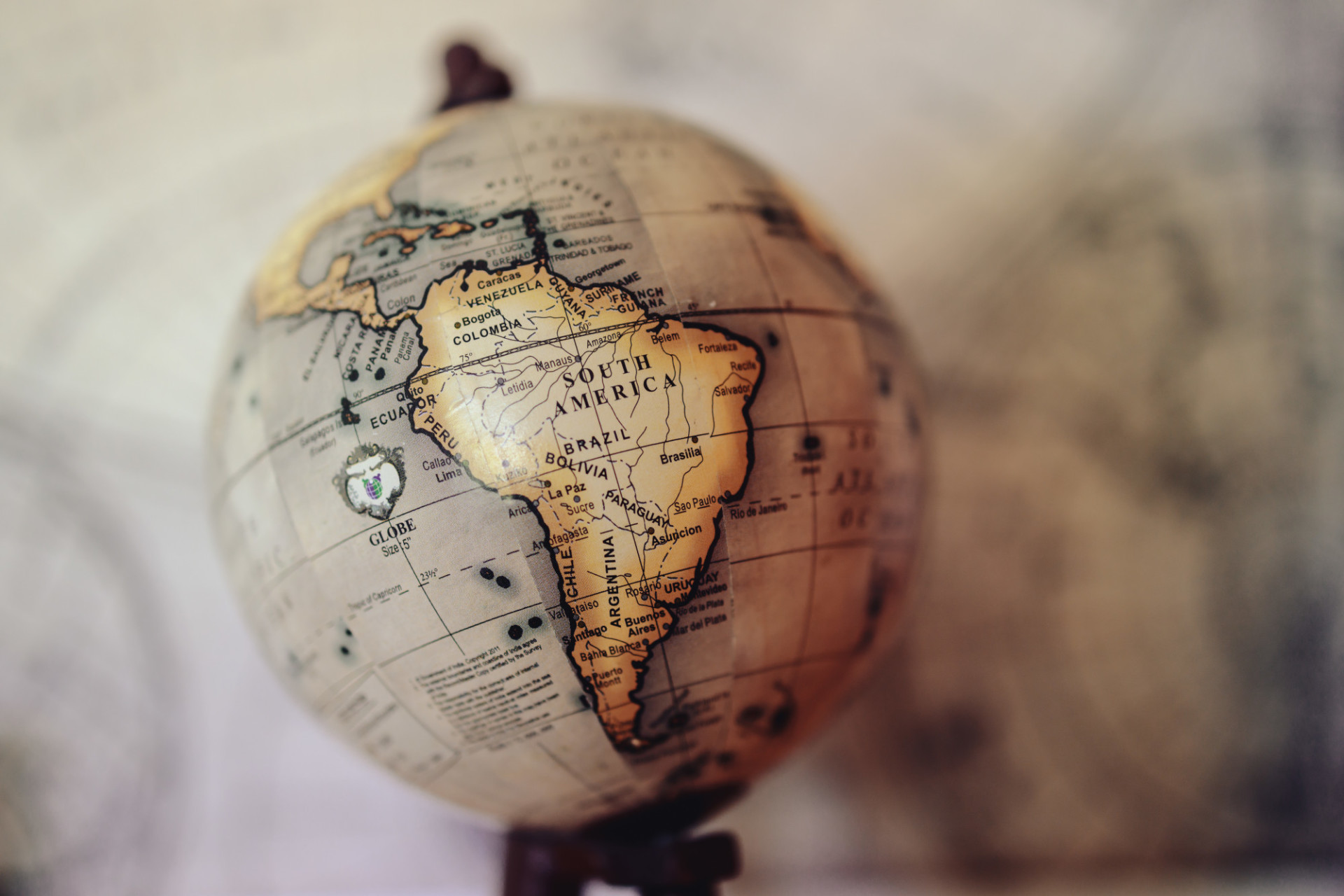 Globe with South America in focus