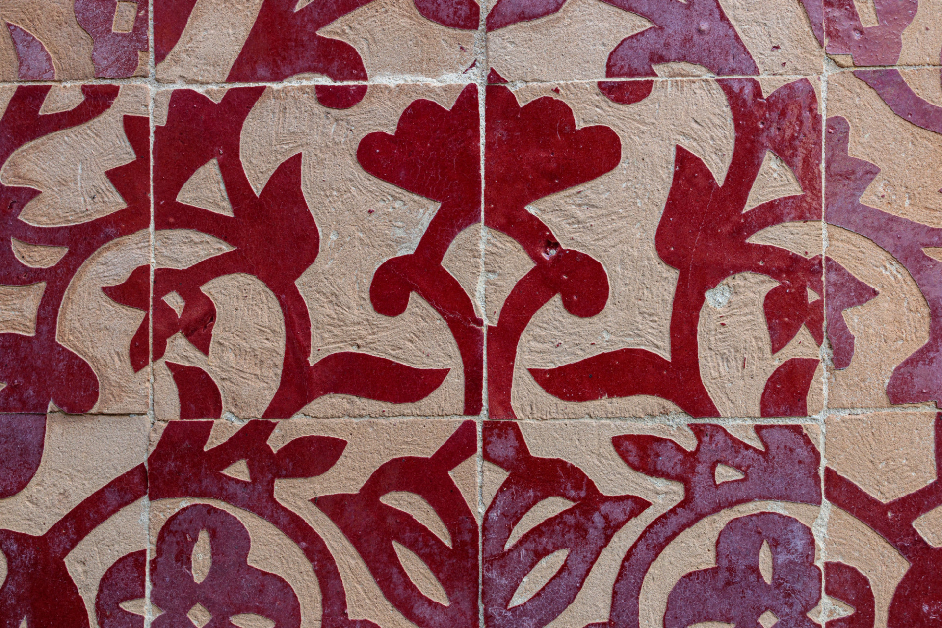 Old Red Tile Pattern Texture