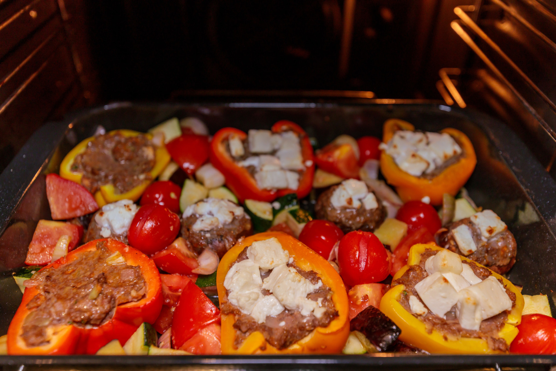 Peppers stuffed with minced meat and feta