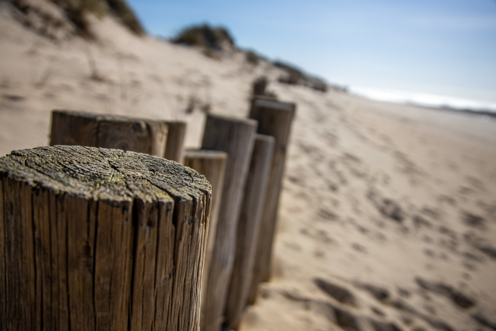 Wooden wall on the beach in Spain