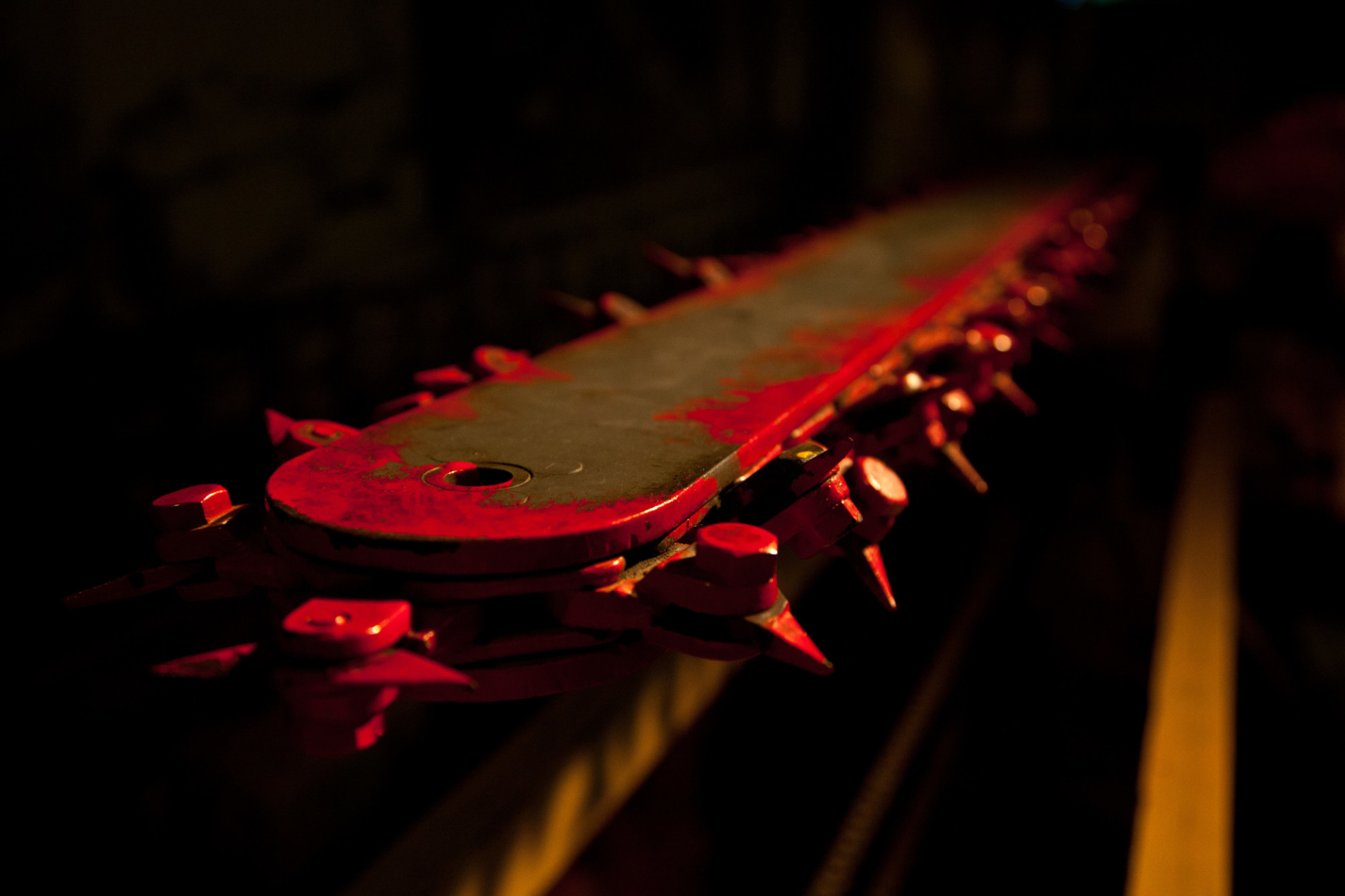 red chainsaw blade
