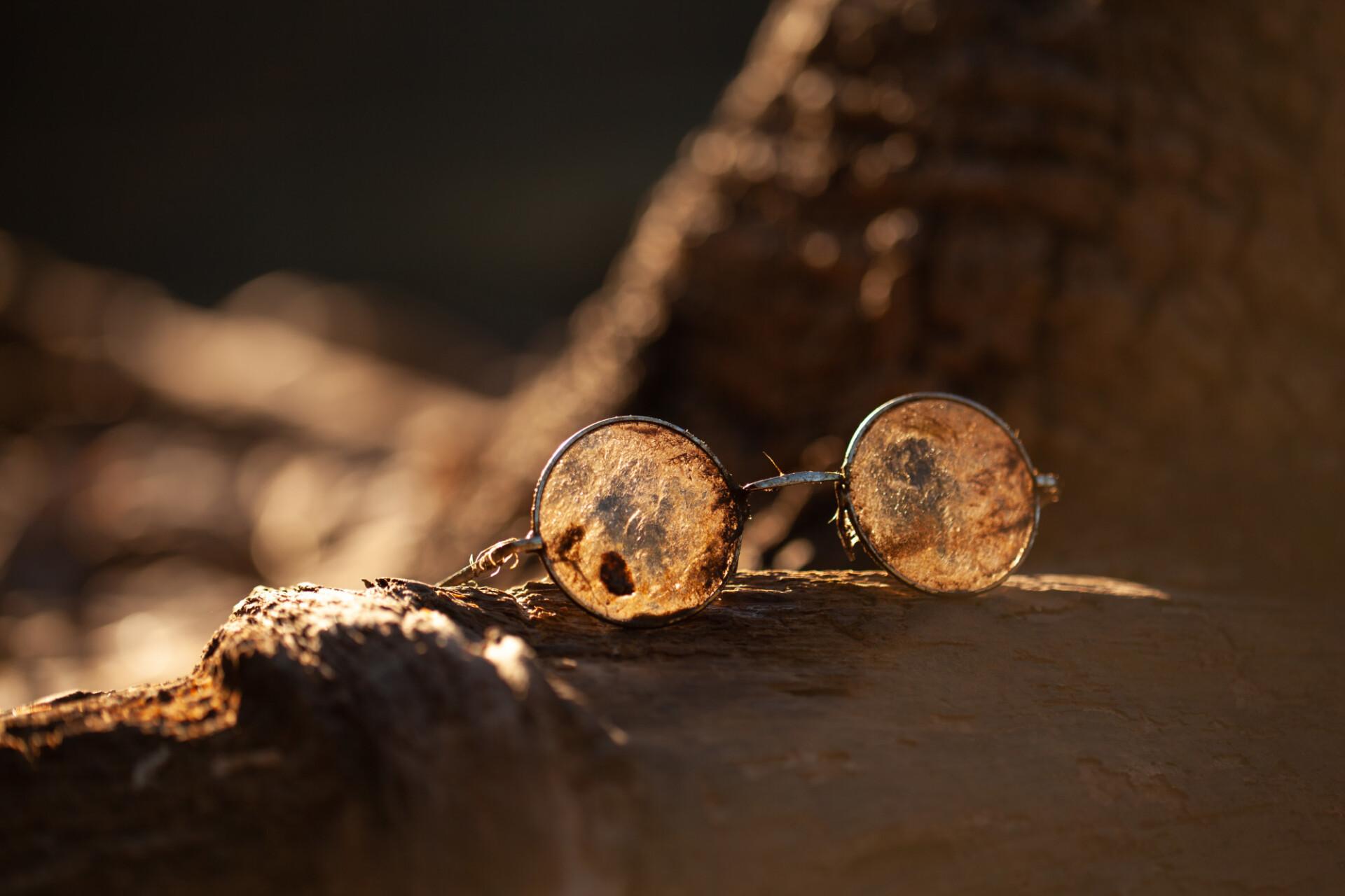 dirty sunglasses in sun