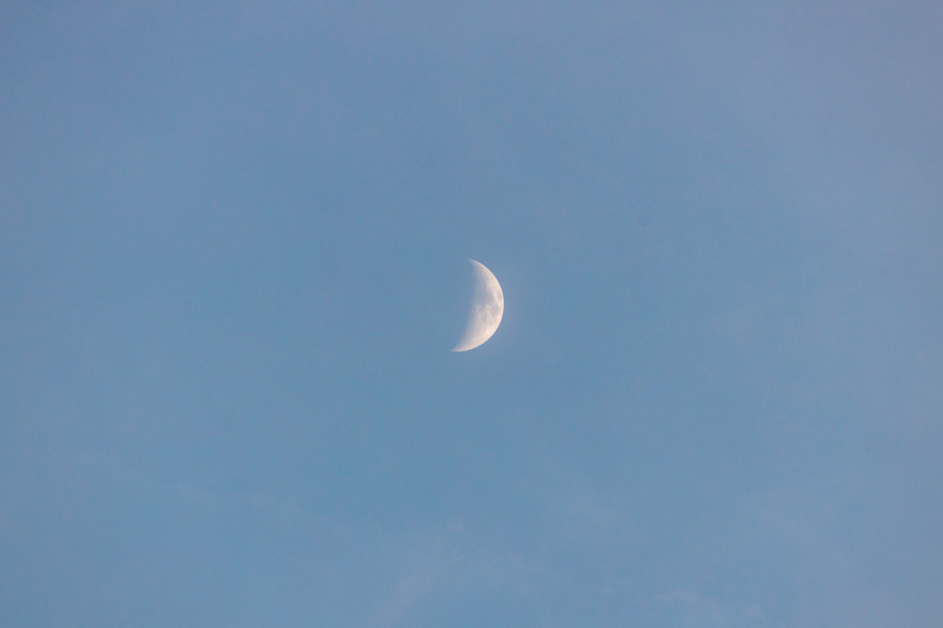 Crescent moon in the early evening