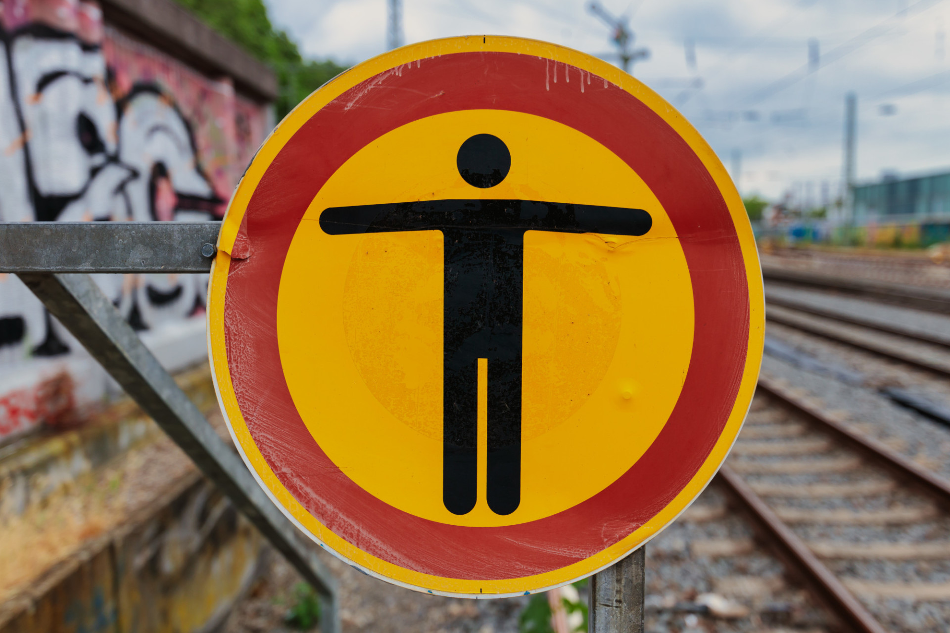 Warning sign on the railway track