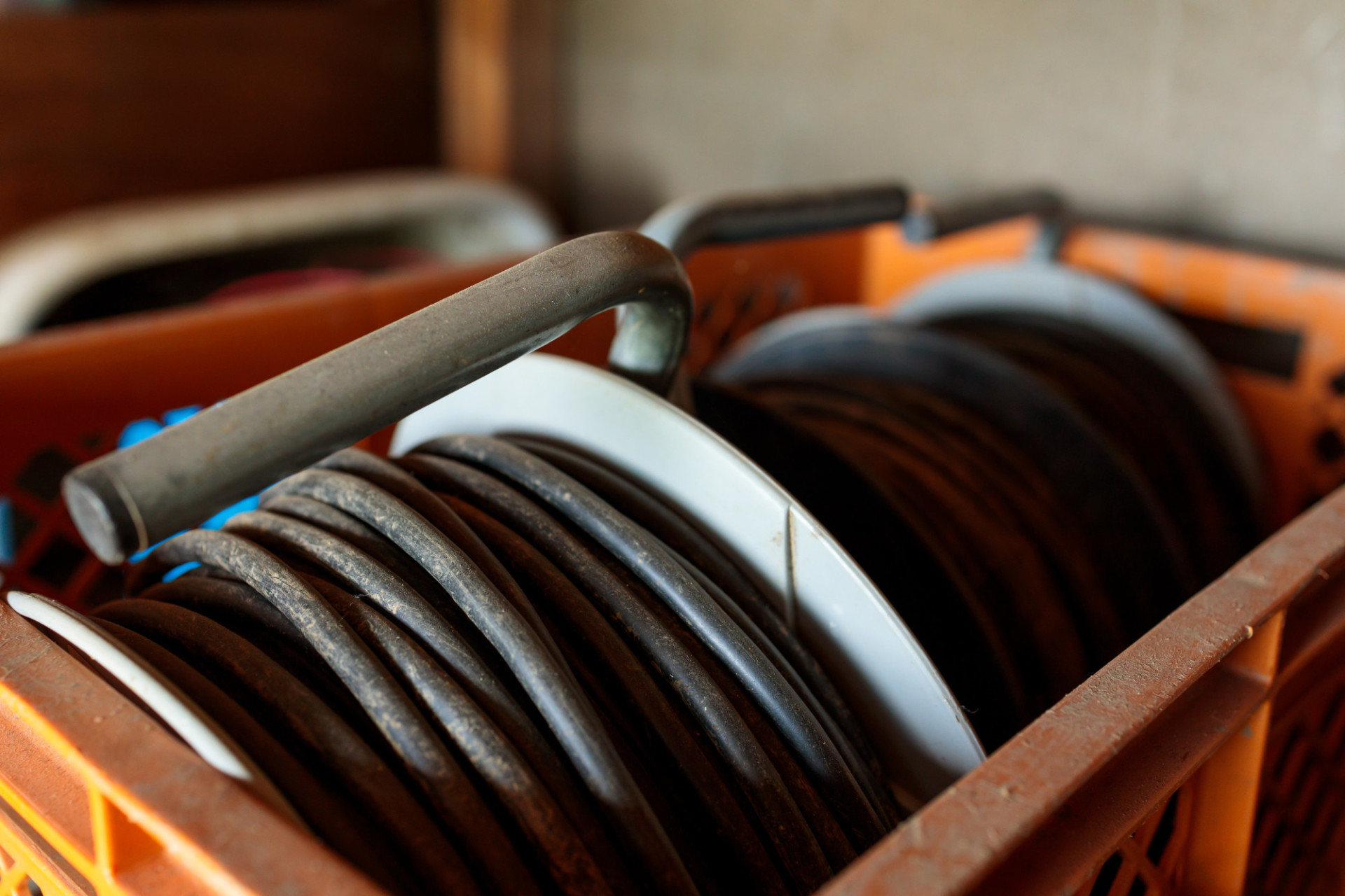 Cable drums in a box