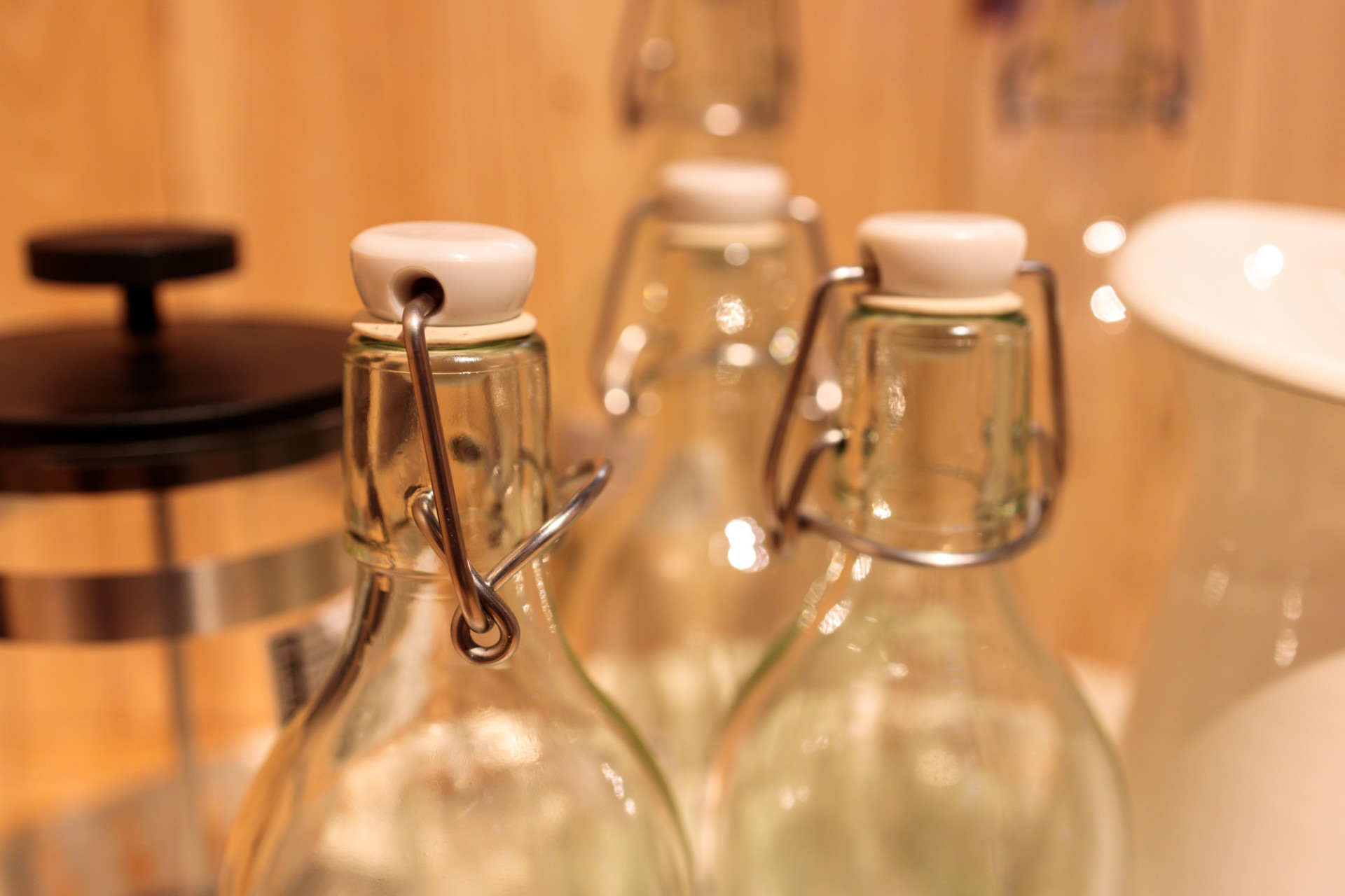 Glass bottles in the kitchen