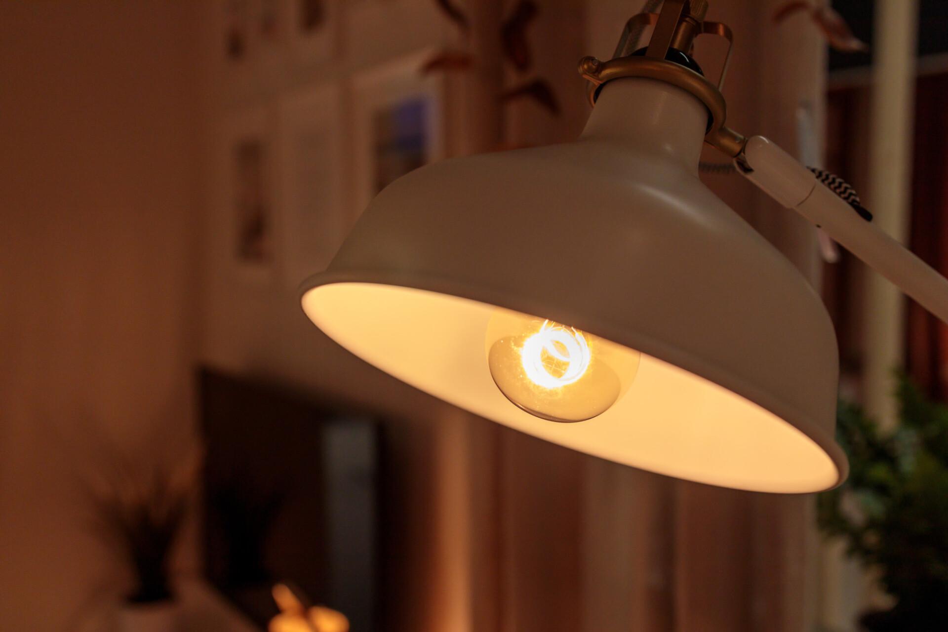 Desk lamp in study room