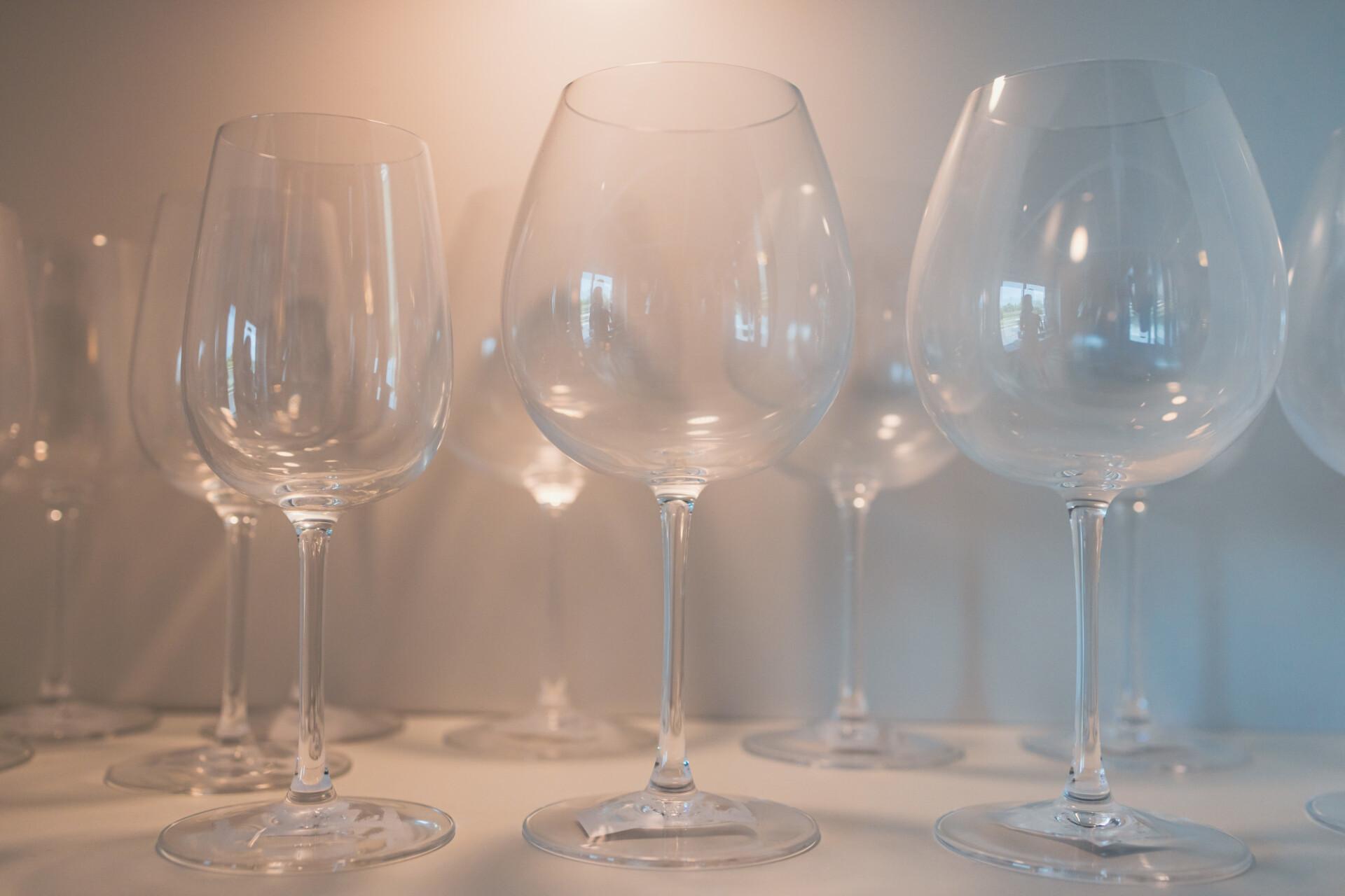 Dusty wine glasses in a showcase
