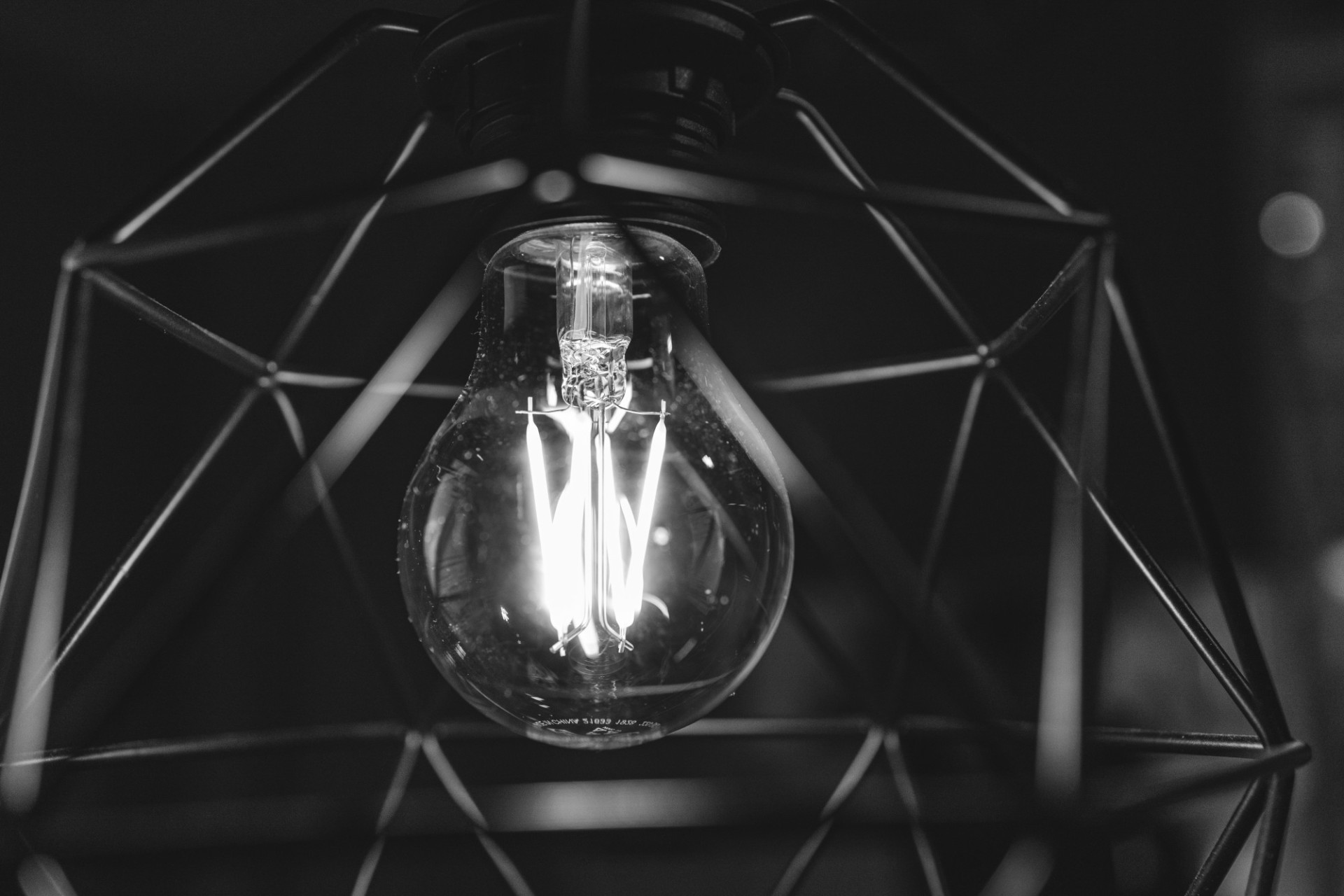 Light bulb in modern lamp