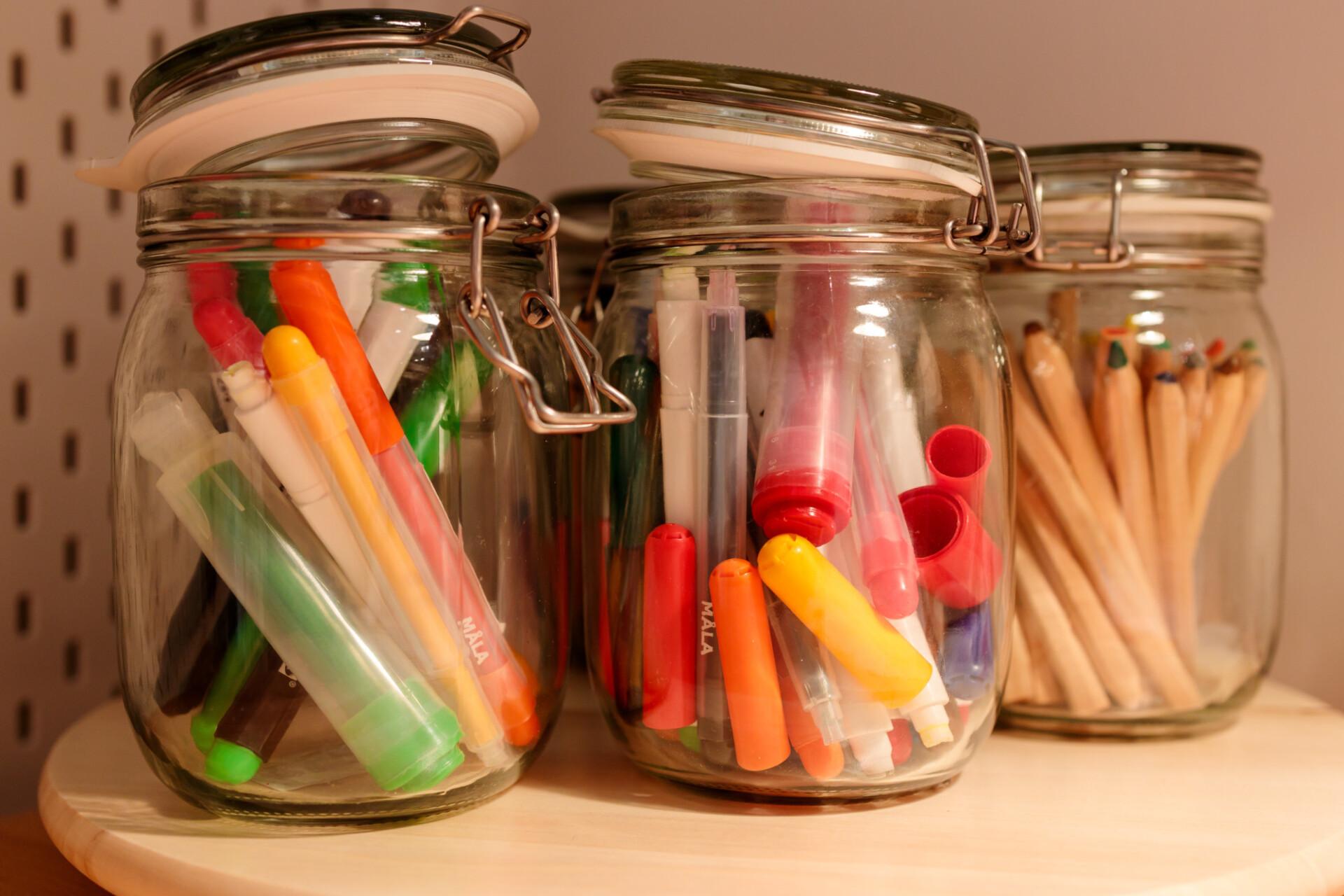 Crayons in jars