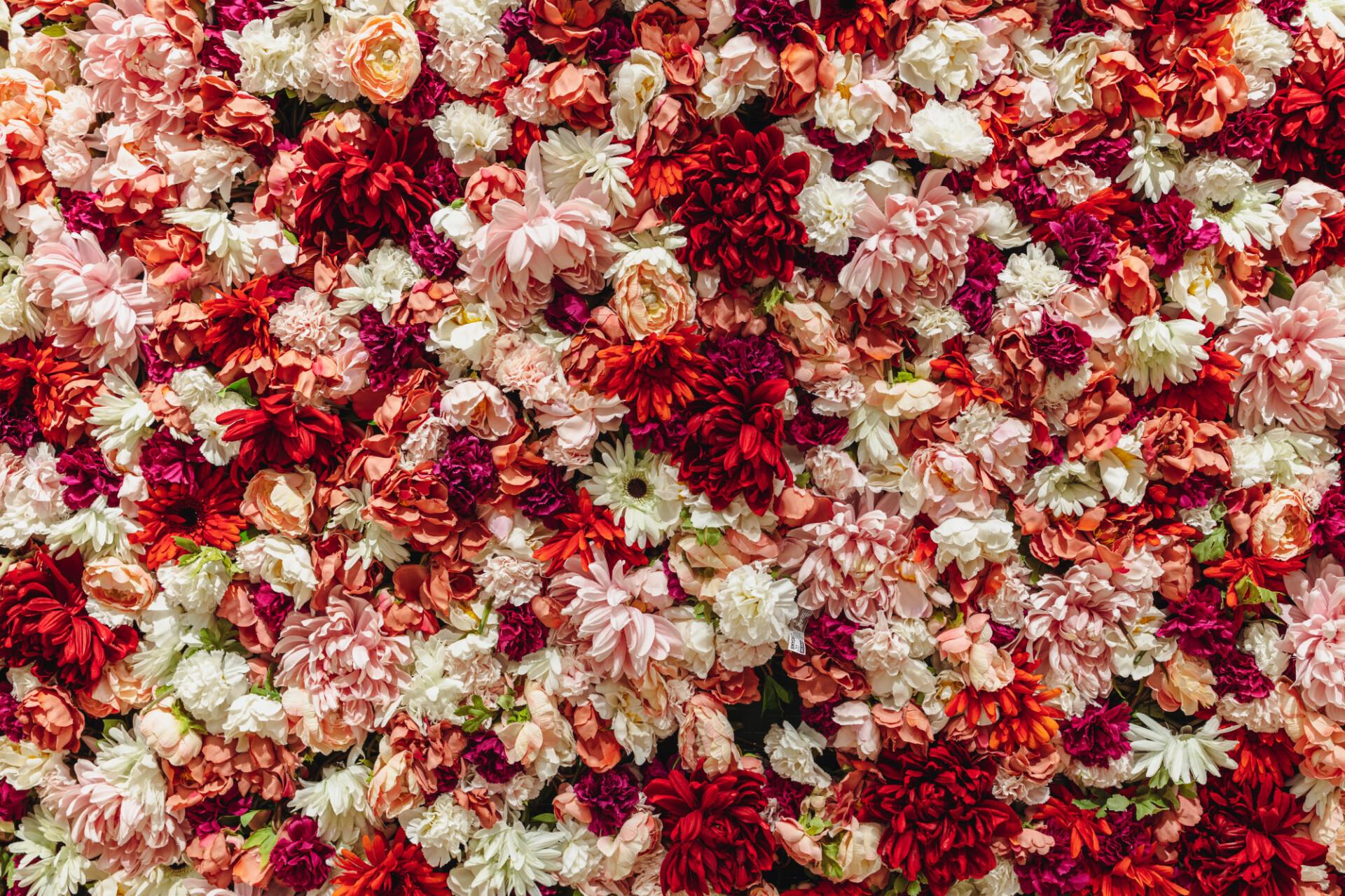 Romantic plastic flowers background