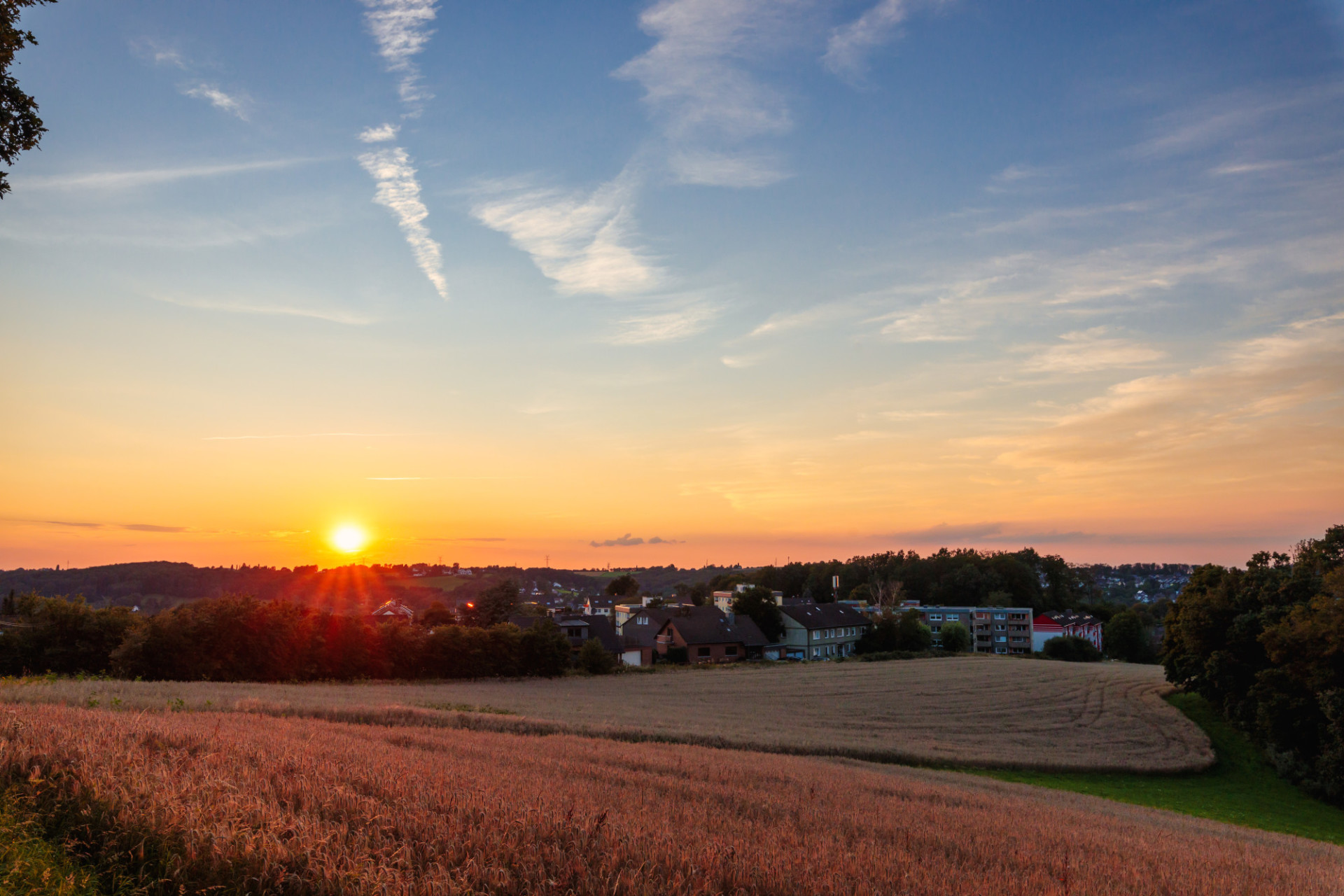 Sunset over a village in germany