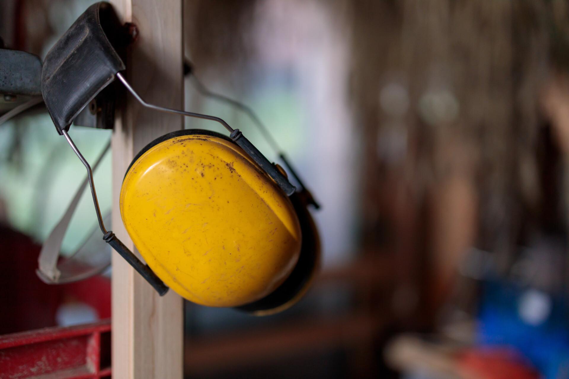 Yellow ear protection headphones