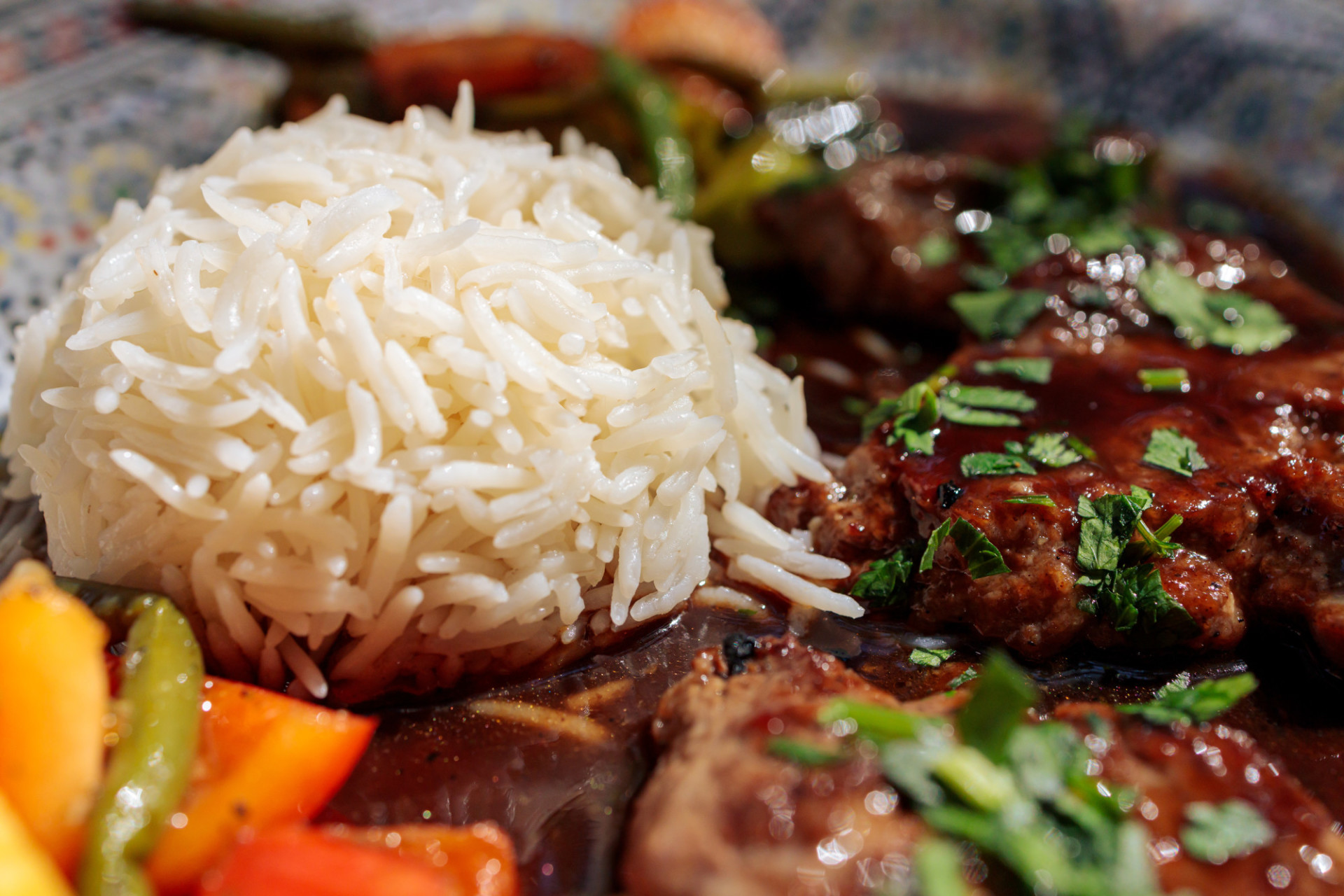 Rice and lamb steaks in an arabic restaurant