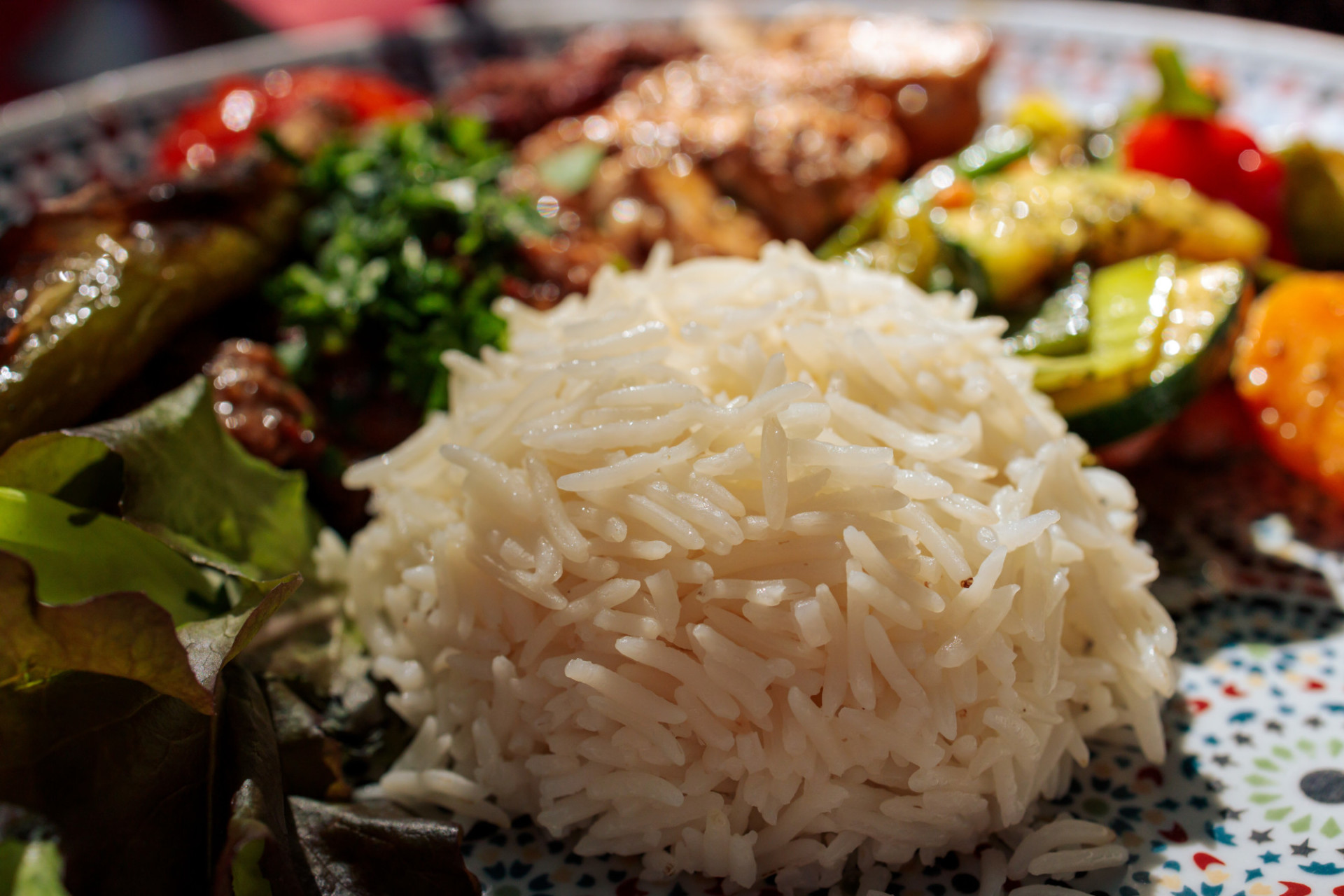 A portion of rice on a plate