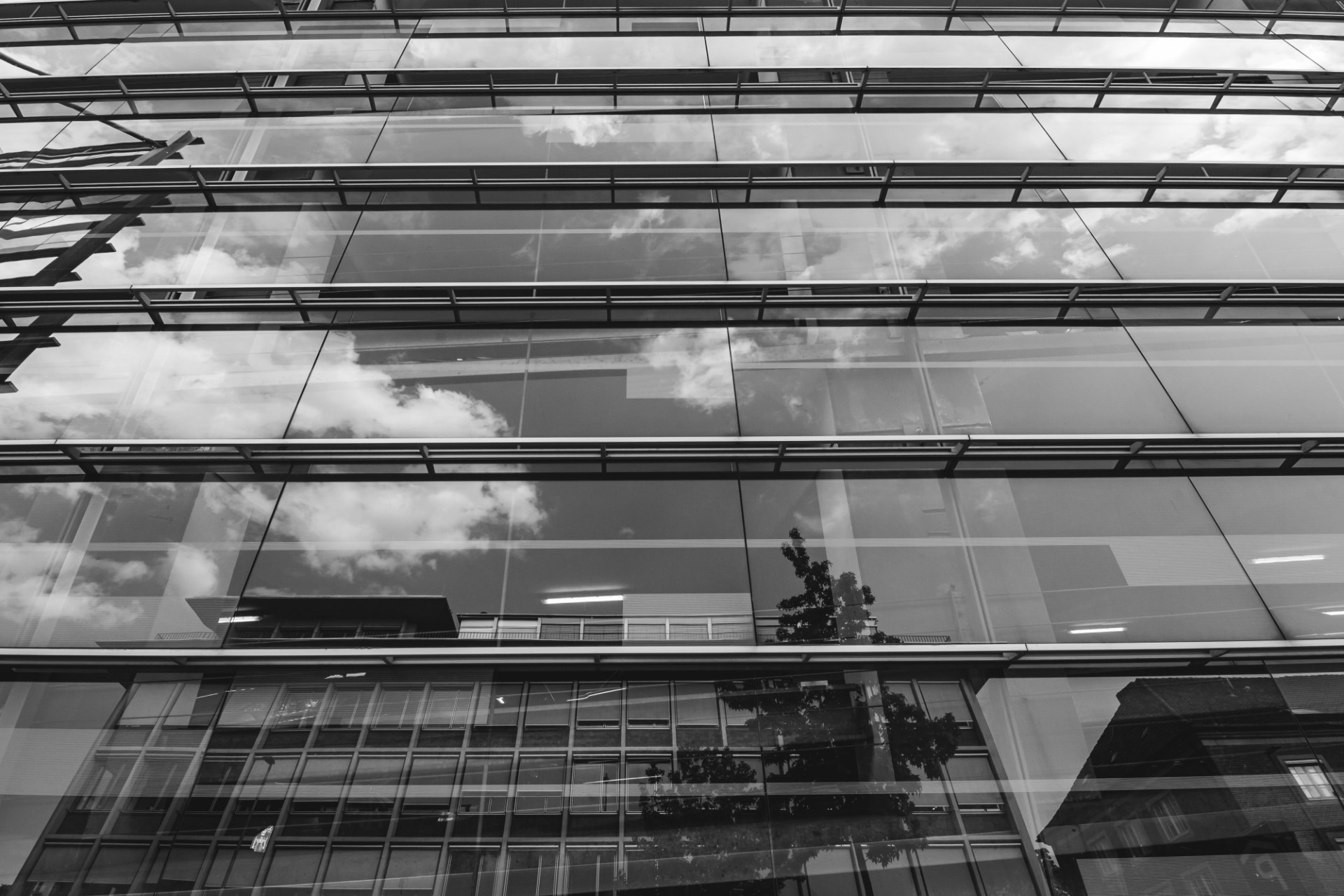 Modern architecture reflecting facade