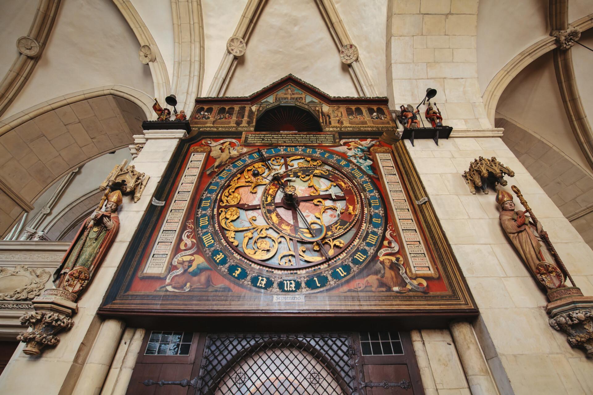 Imposing antique clock in a church