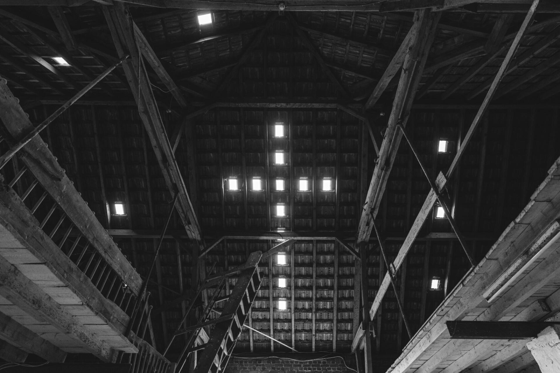 Jesus cross windows in a barn