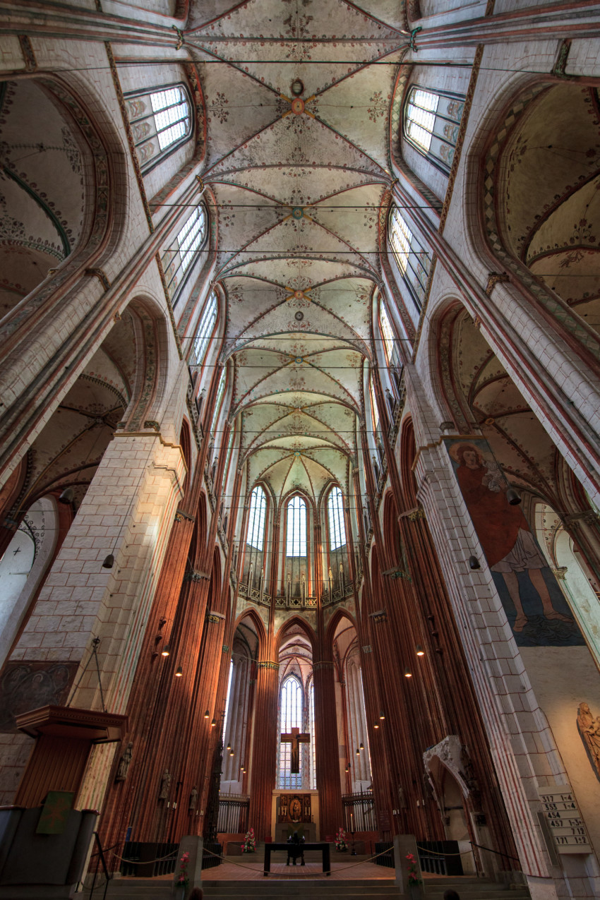 Interior view of the Marienkirche in Lübeck Holy Cross