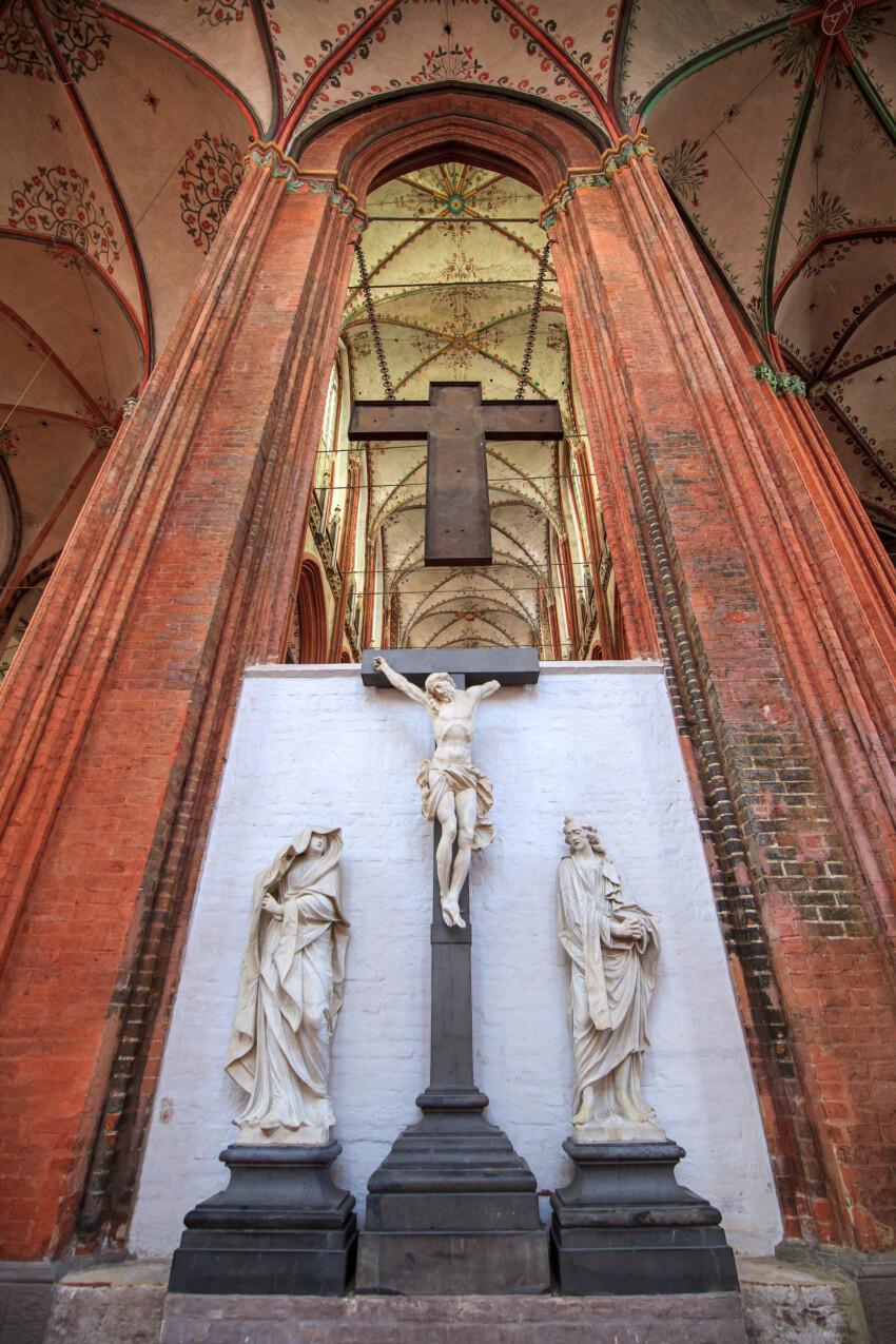 Jesus on the cross in the Marienkirche in Lübeck