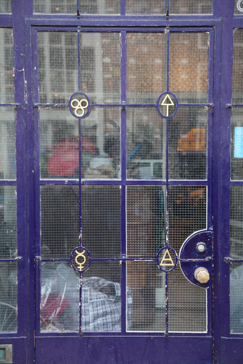 old blue glass door