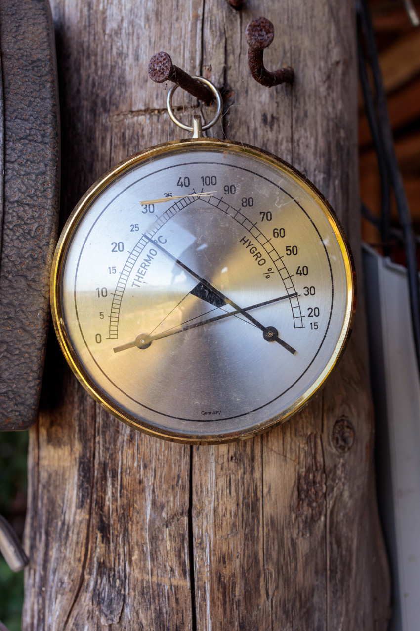 Old round thermometer with humidity indicator