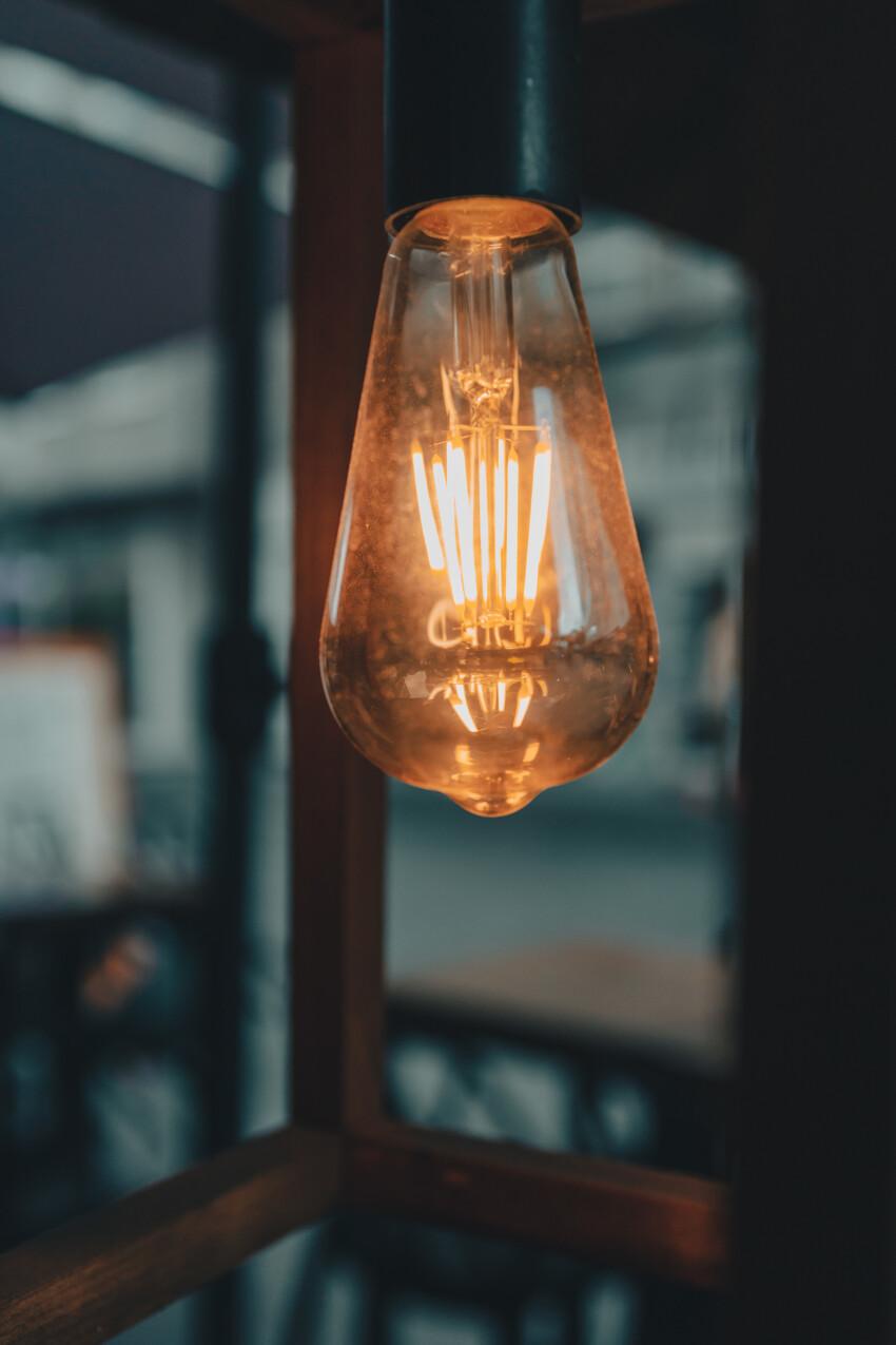 Light bulb on a terrace in rainy mood