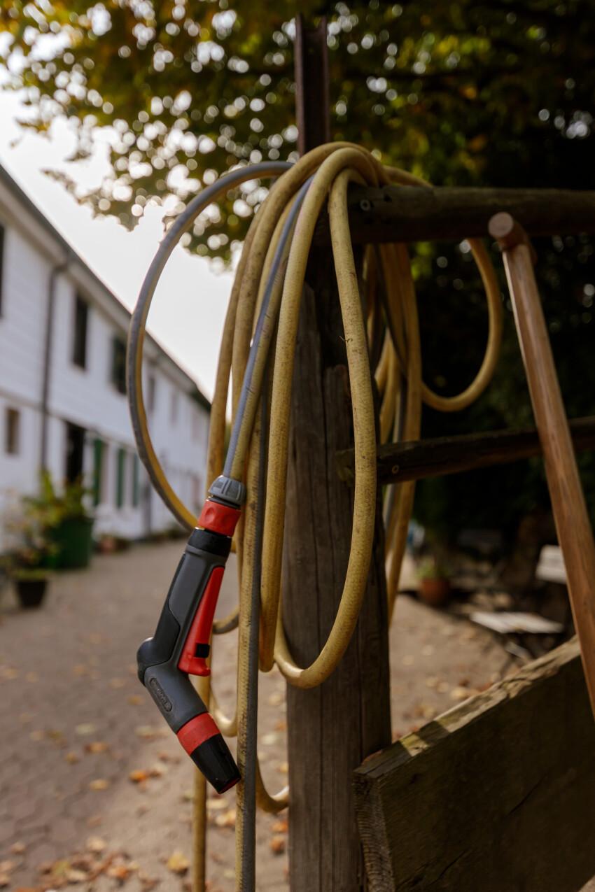 Garden hose curled up