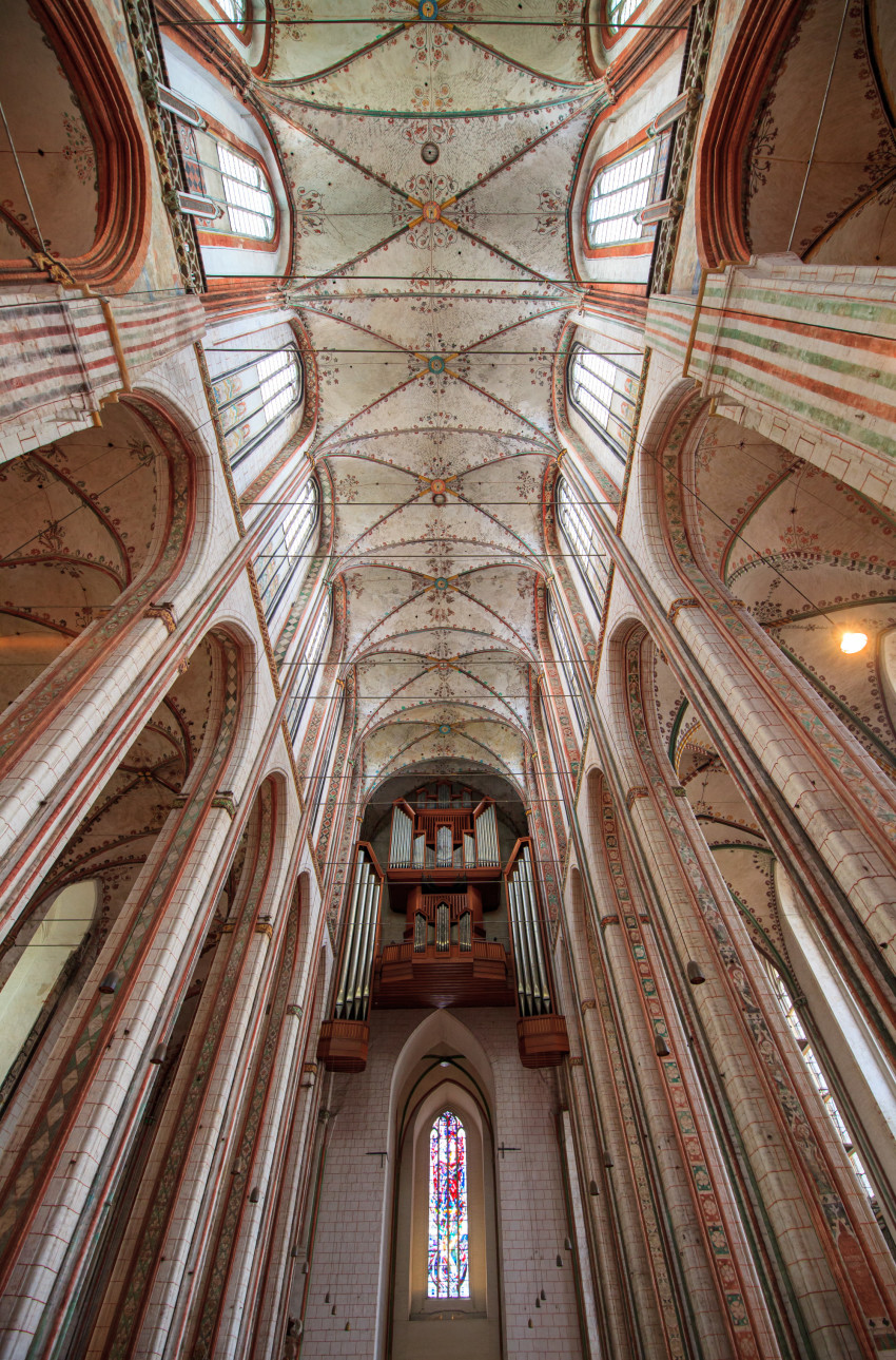 Interior view of the Marienkirche in Lübeck
