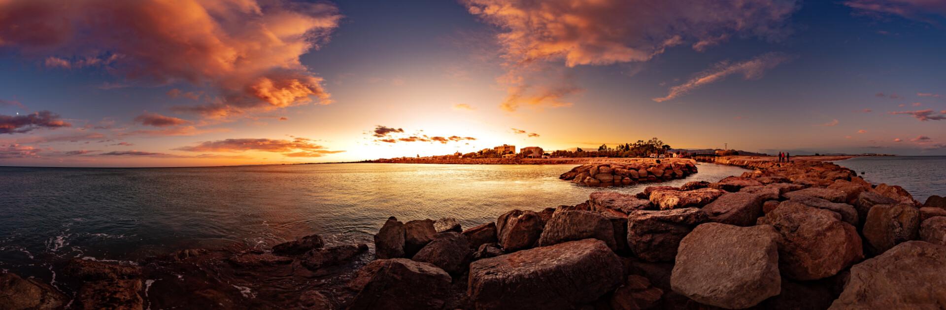 Sunset over Casablanca in Spain Seascape Panorama
