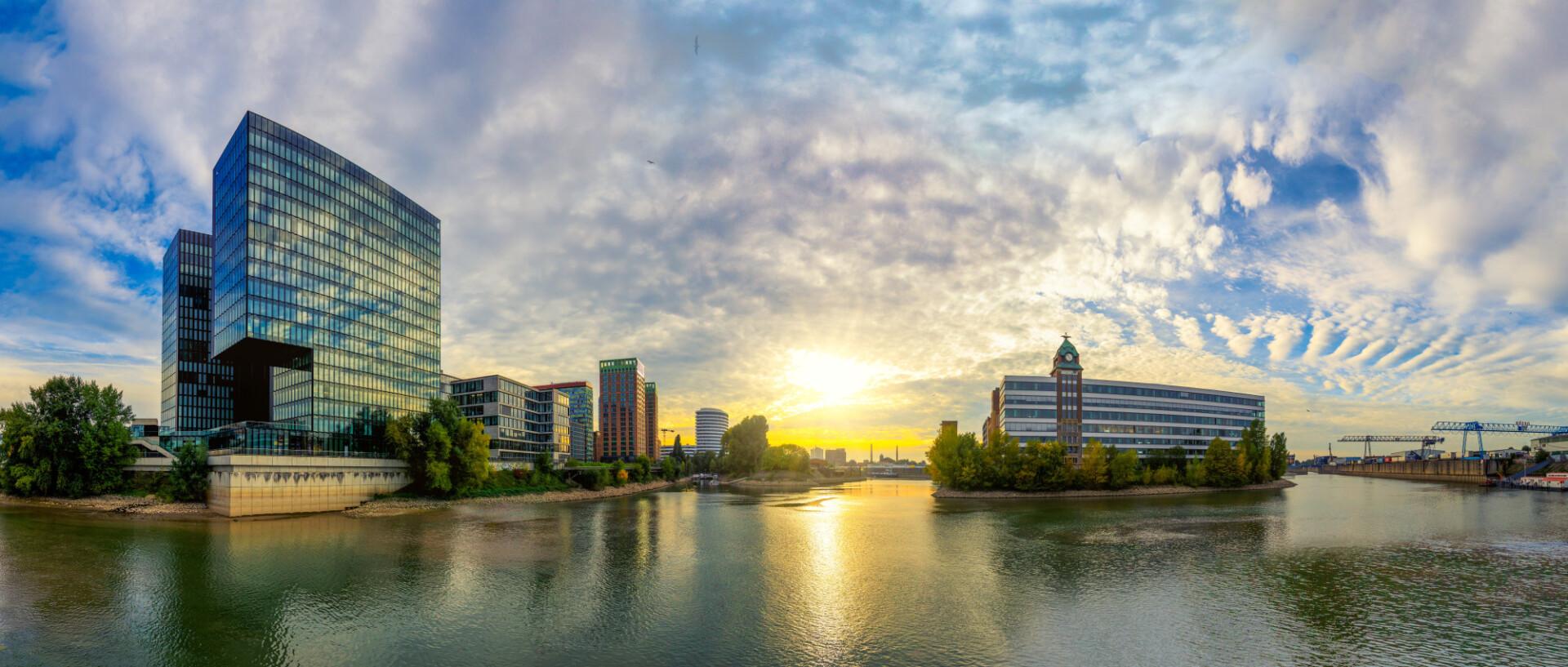 Dusseldorf city panorama on the rhine