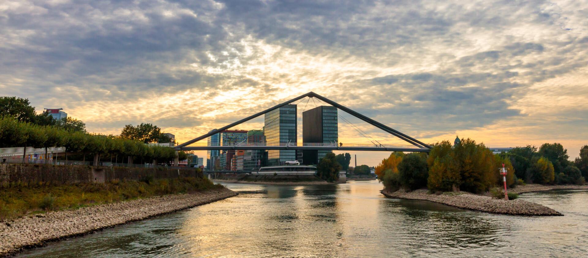 Dusseldorf on the Rhine ship crosses bridge