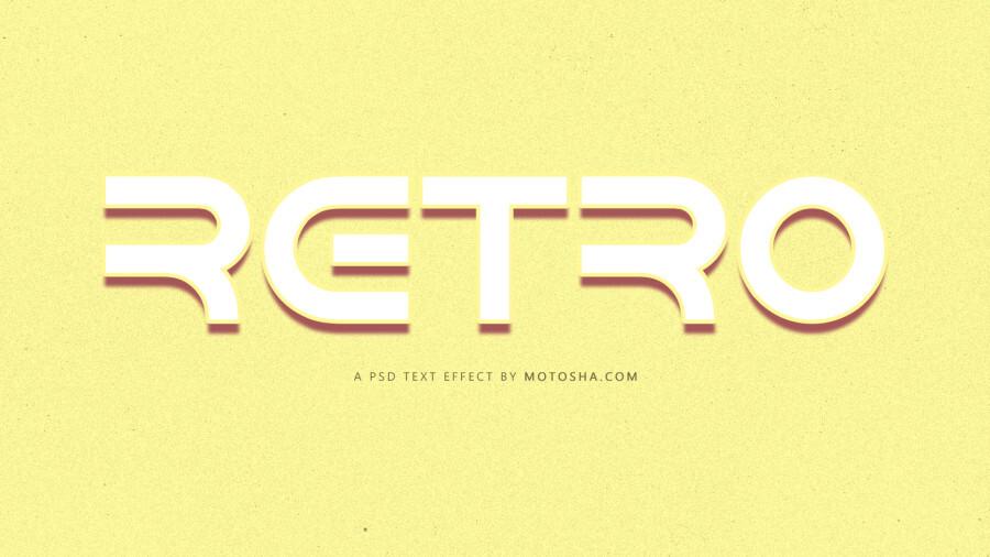 retro psd text effect