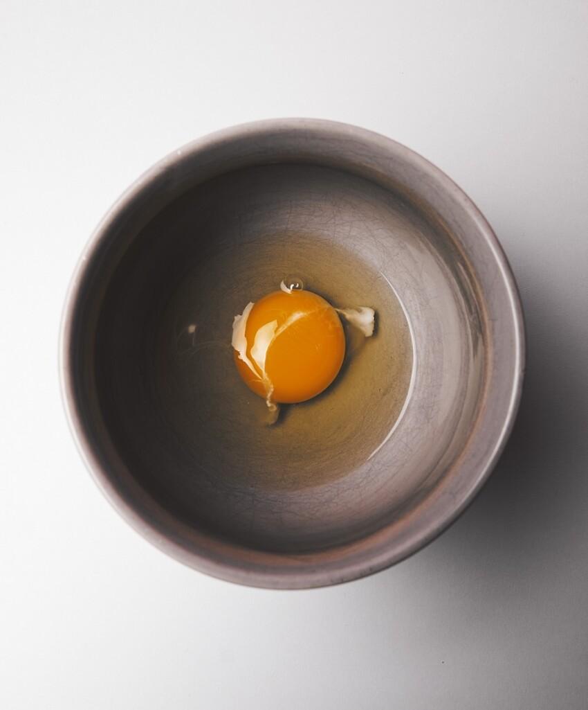egg in gray bowl