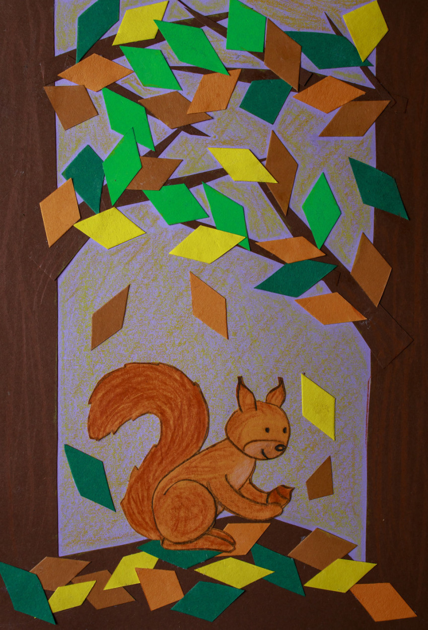 Squirrel in autumn paper art