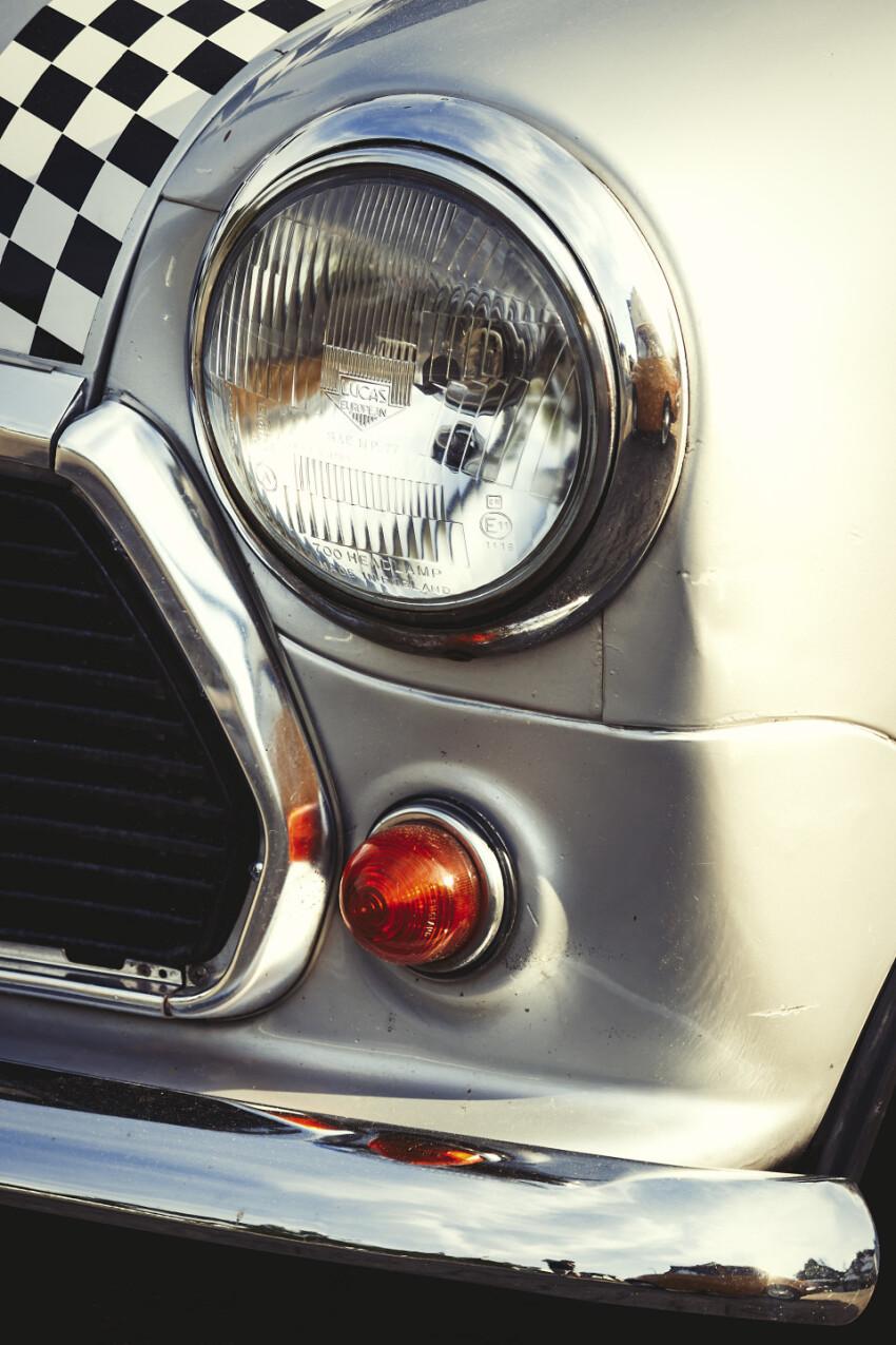 silver oldtimer mini frontlight