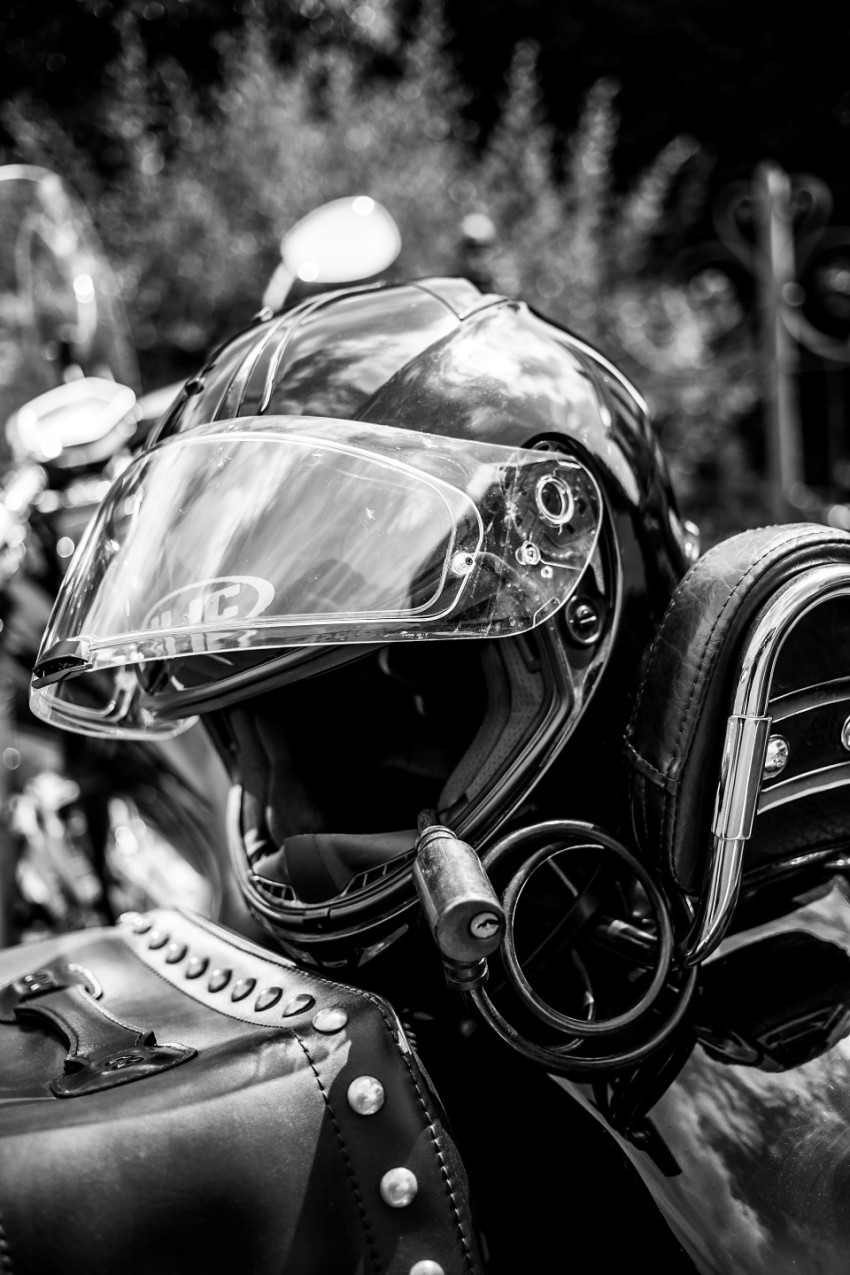 A motorcycle helmet secured with a lock